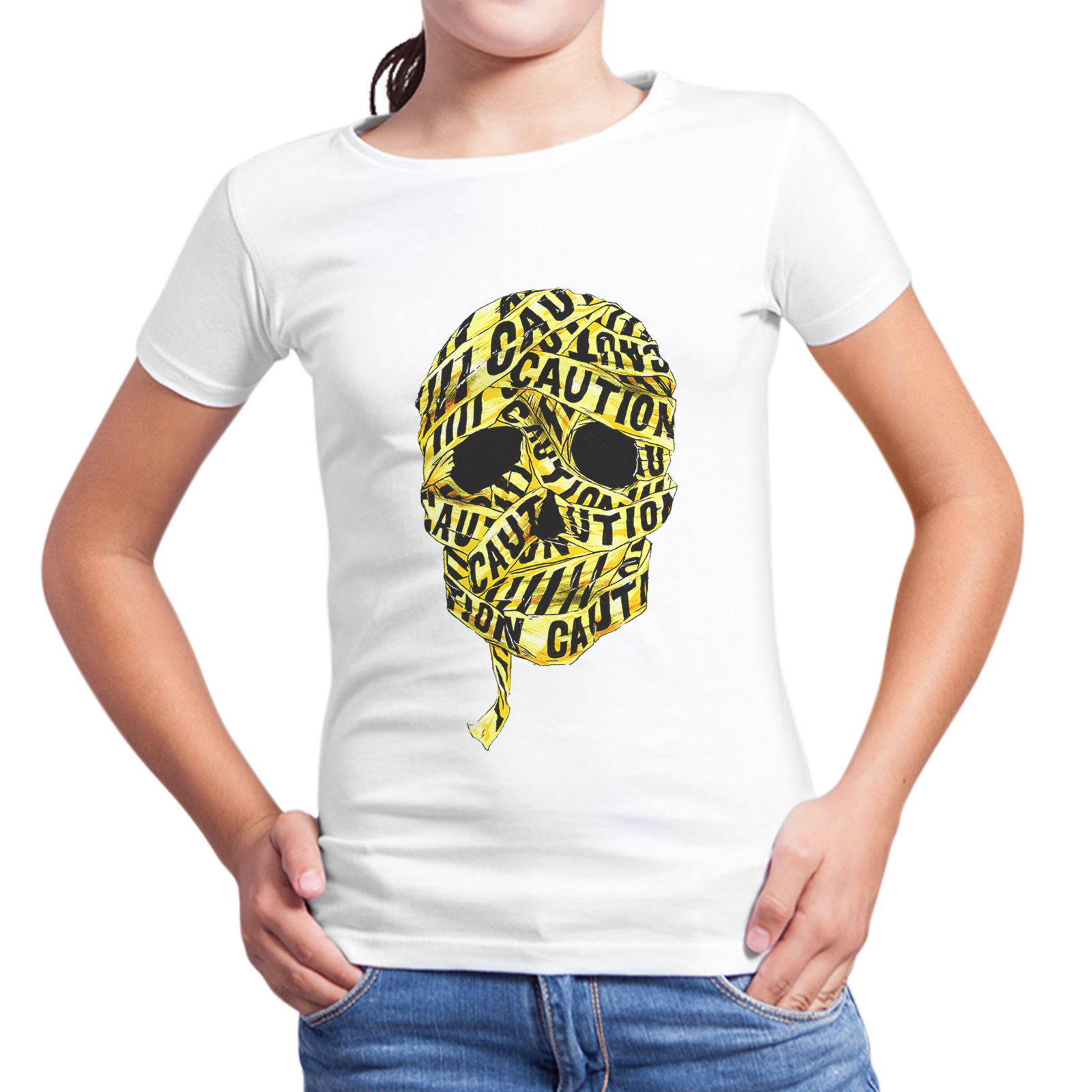 T-Shirt Bambina SKULL CAUTION 1