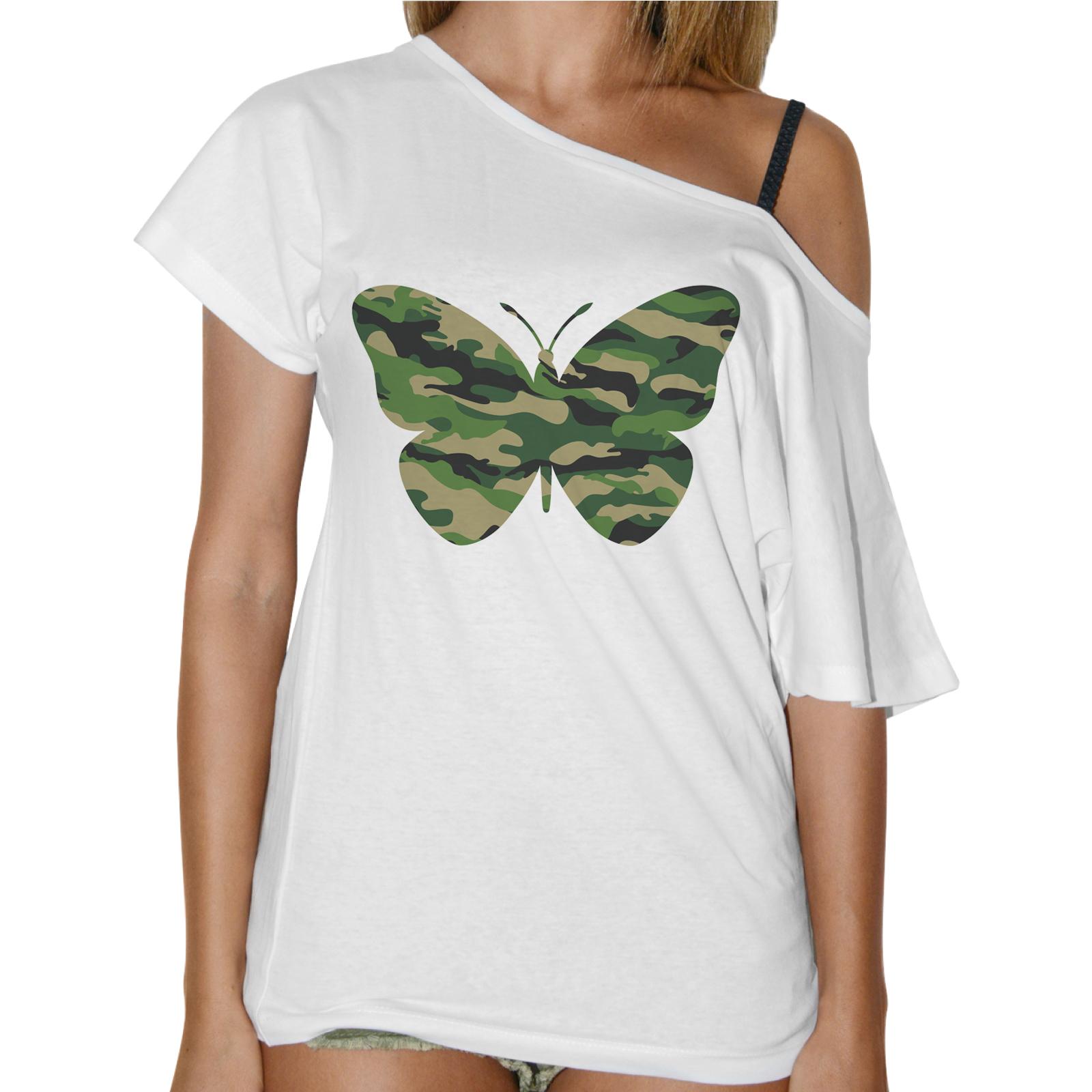 T-Shirt Donna Collo Barca FARFALLA MILITARE