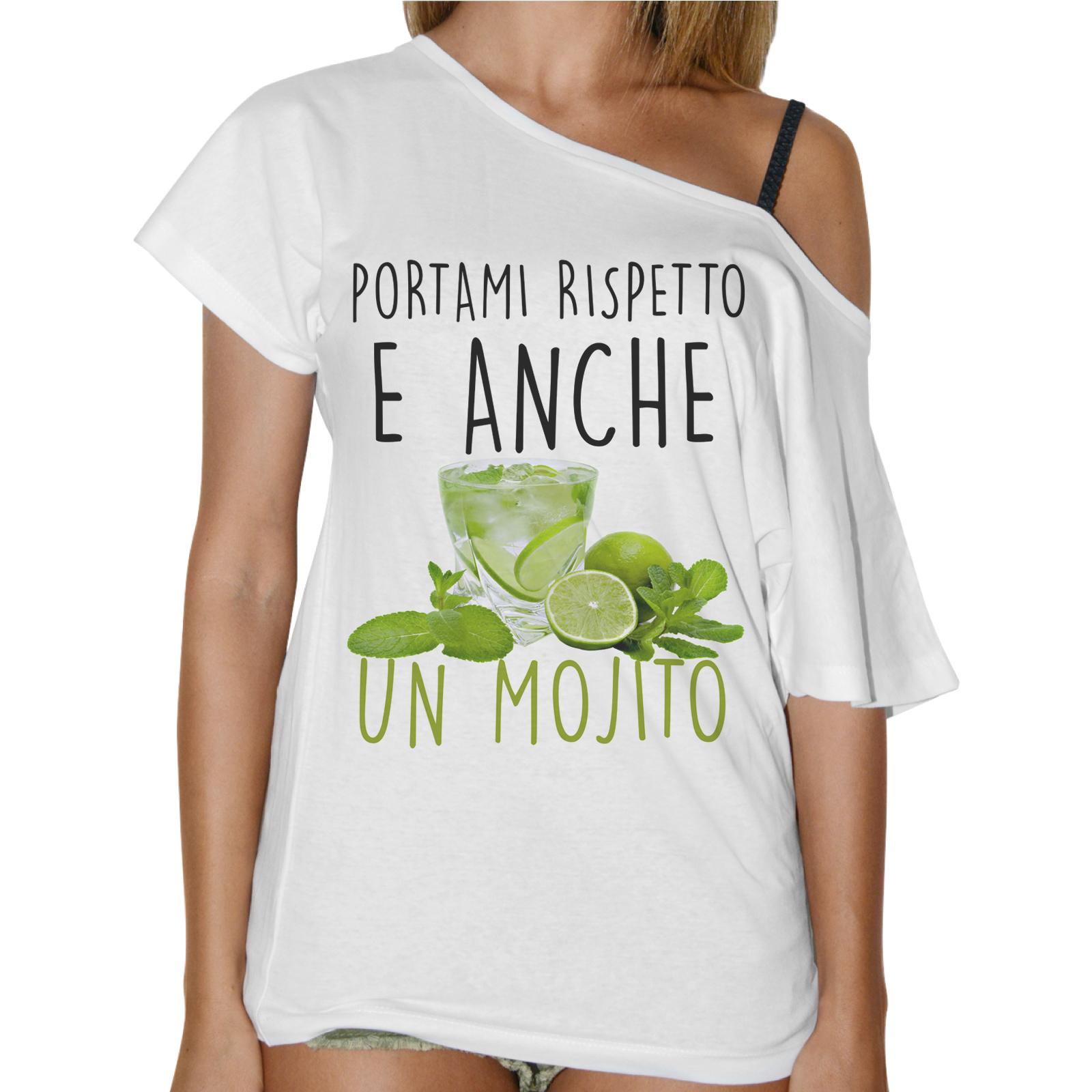 T-Shirt Donna Collo Barca RISPETTO E MOJITO
