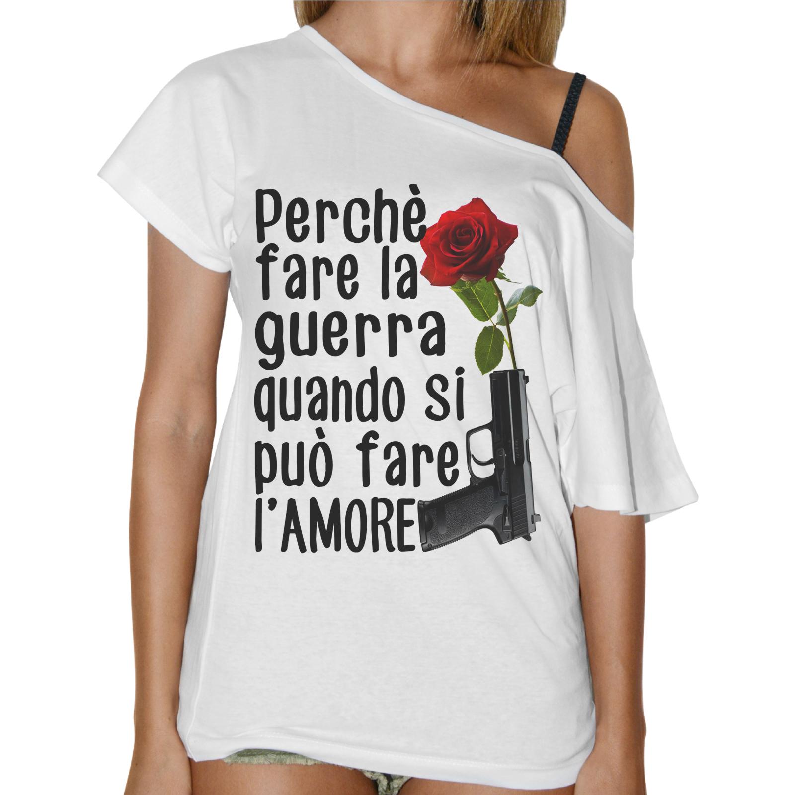 T-Shirt Donna Collo Barca MEGLIO FARE L'AMORE