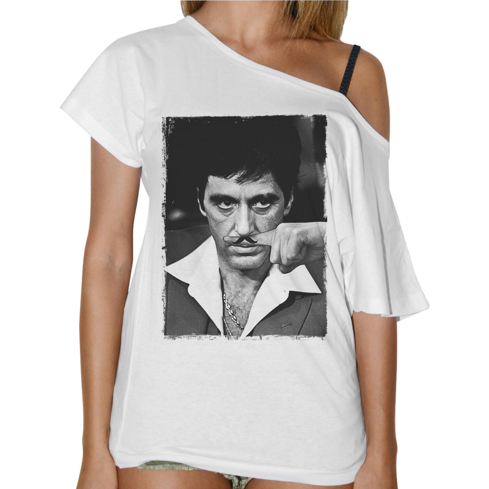 T-Shirt Donna Collo Barca AL PACINO MUSTACHE