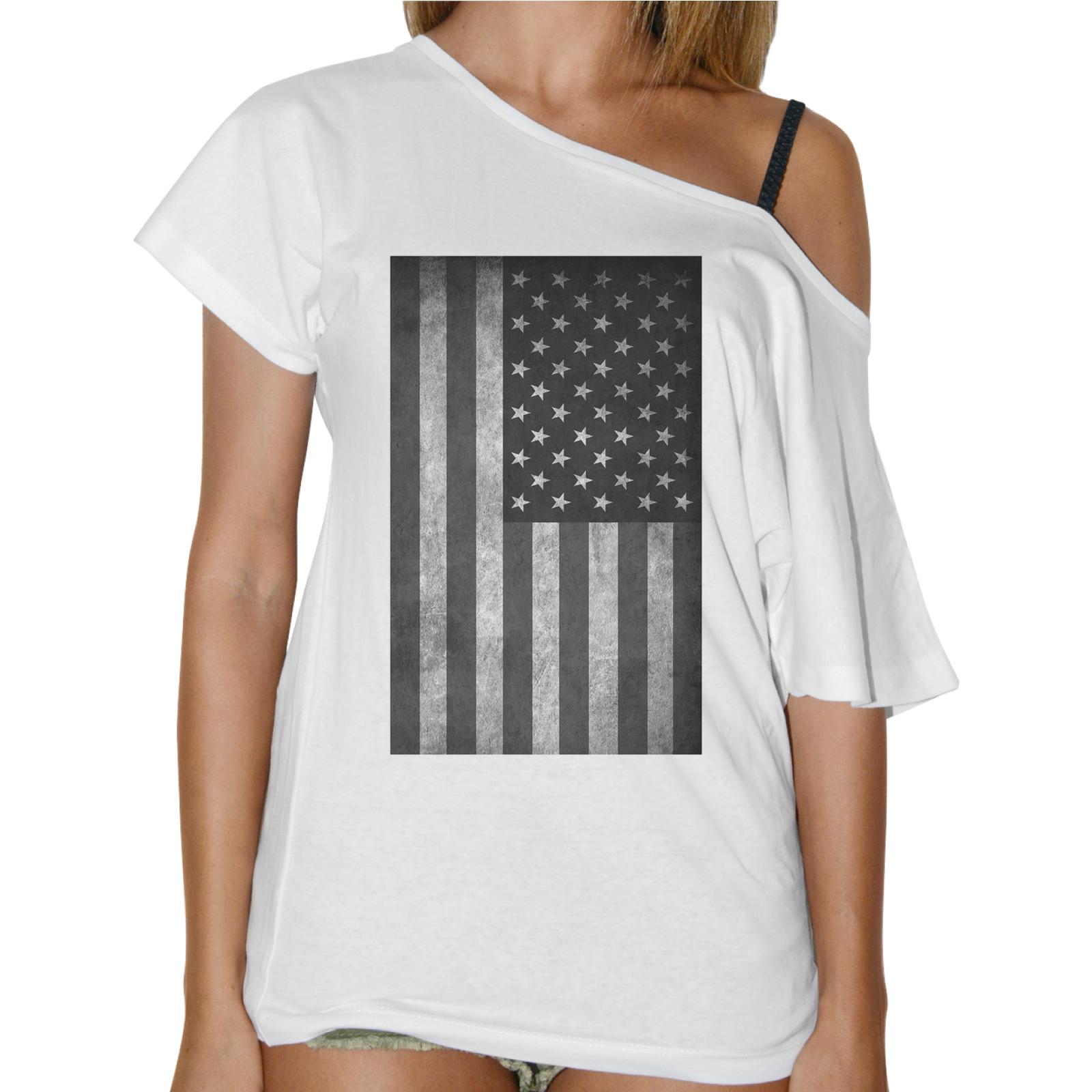 T-Shirt Donna Collo Barca BANDIERA AMERICA VINTAGE