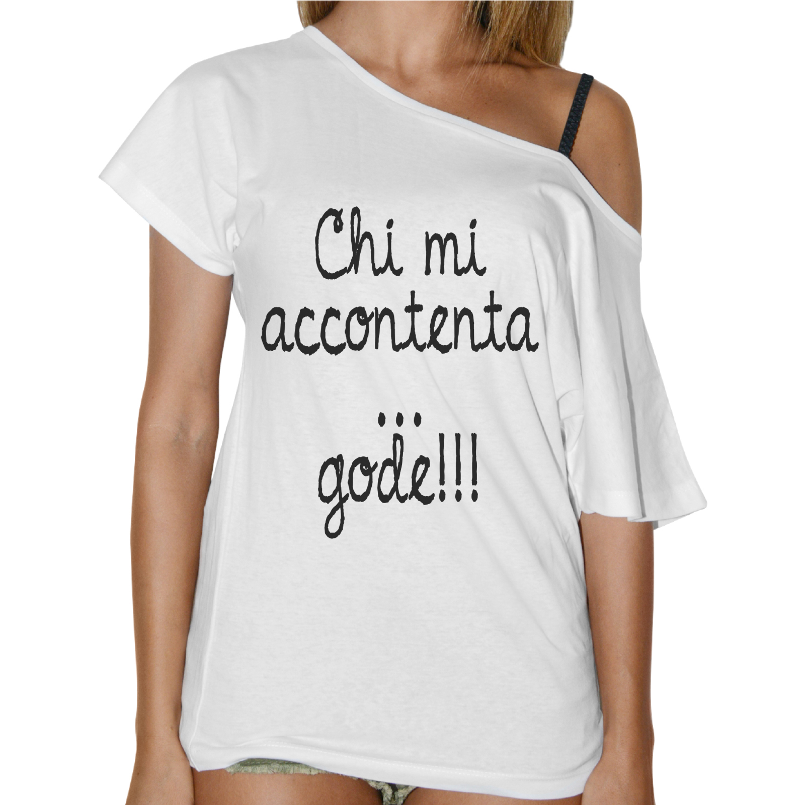 T-Shirt Donna Collo Barca CHI MI ACCONTENTA