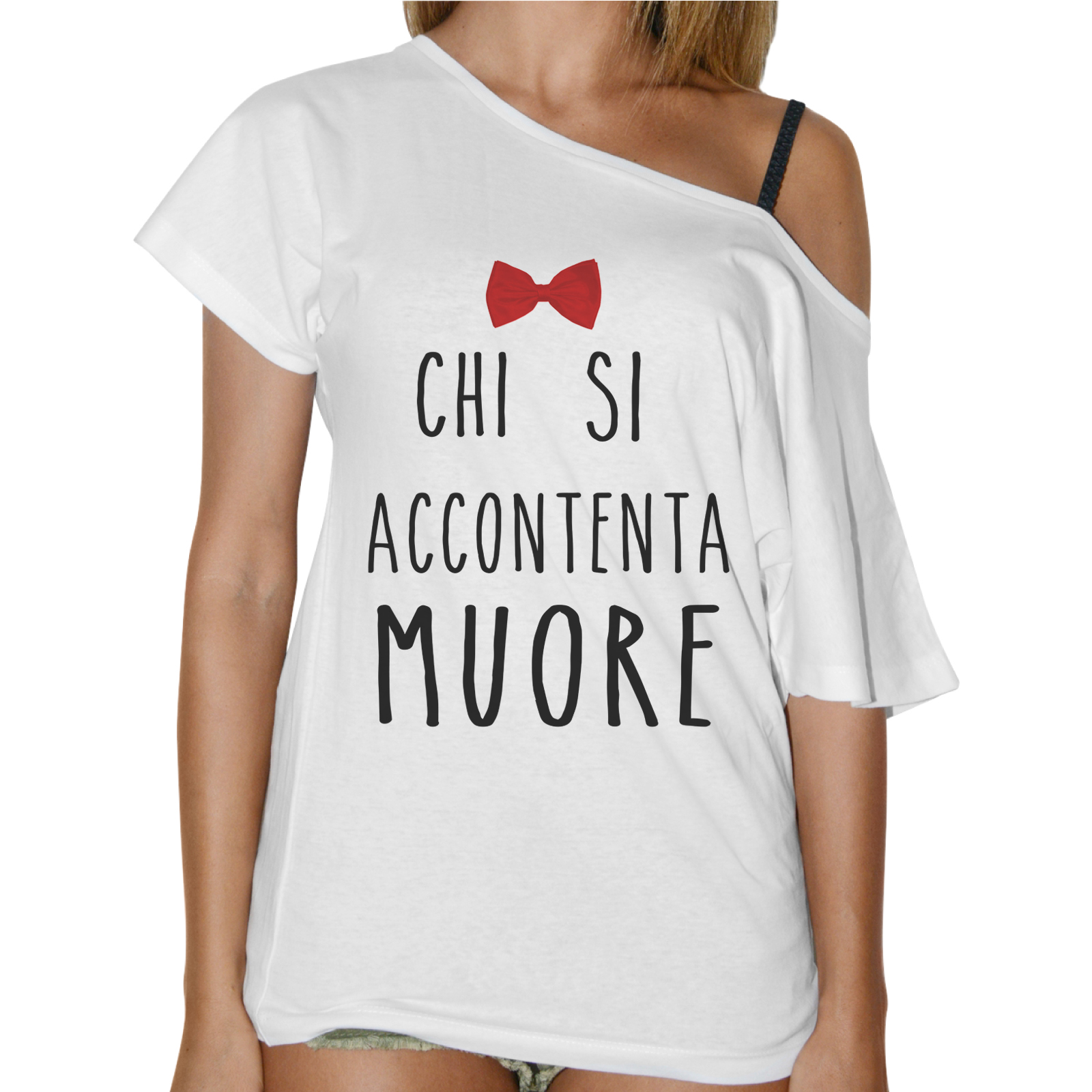 T-Shirt Donna Collo Barca CHI SI ACCONTENTA