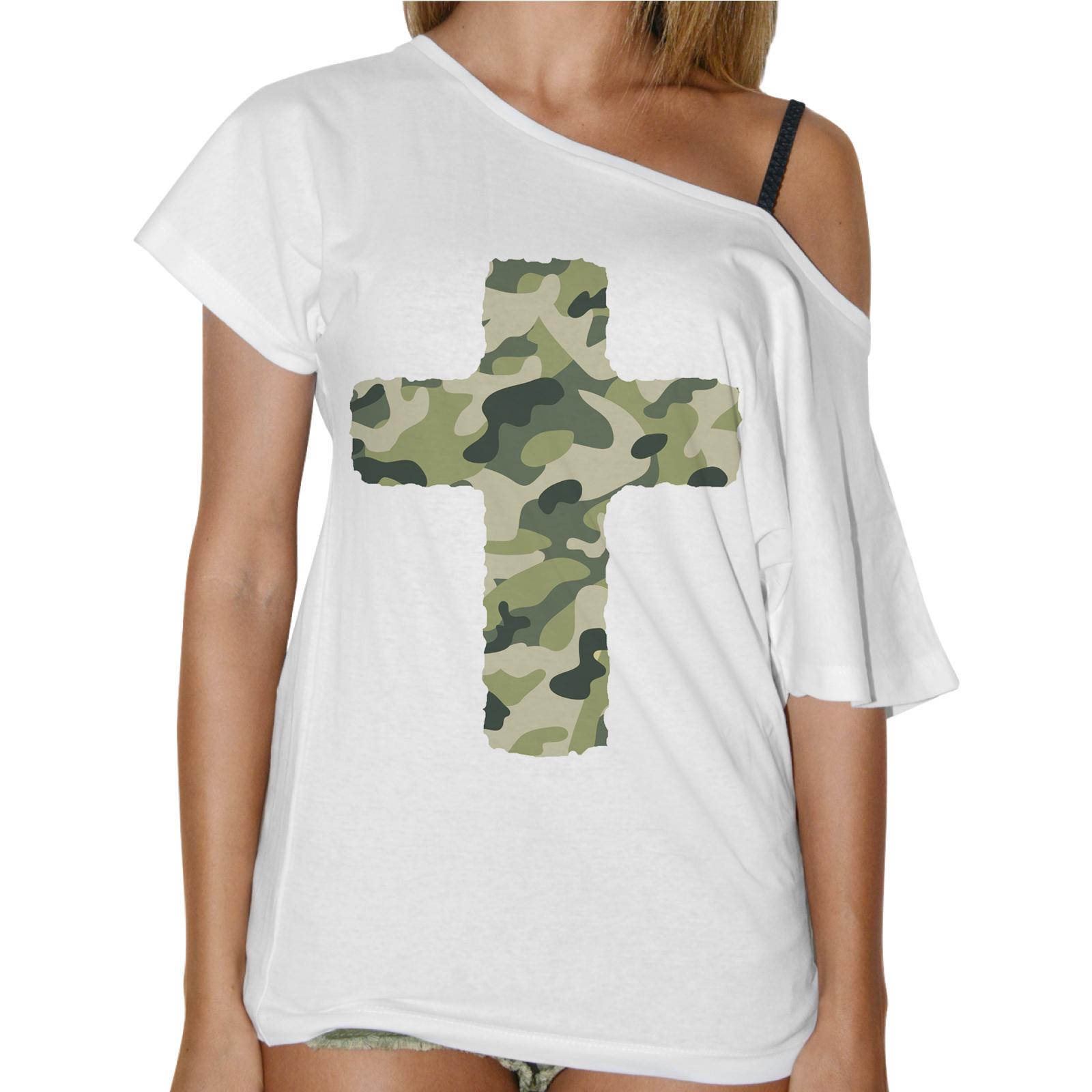 T-Shirt Donna Collo Barca CROCE MILITARE