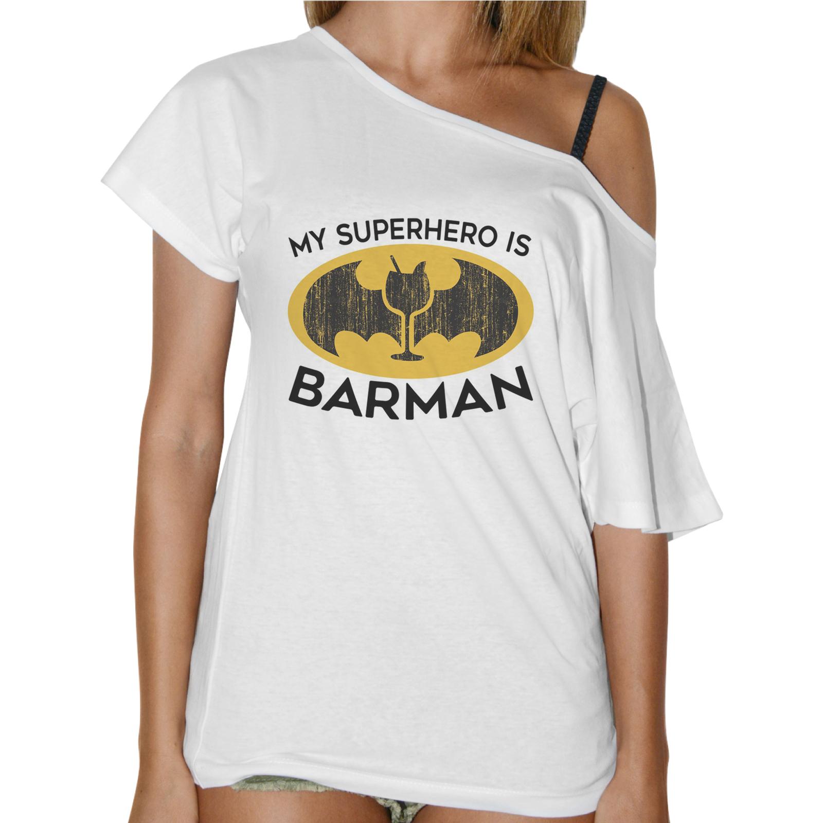 T-Shirt Donna Collo Barca SUPERHERO BARMAN