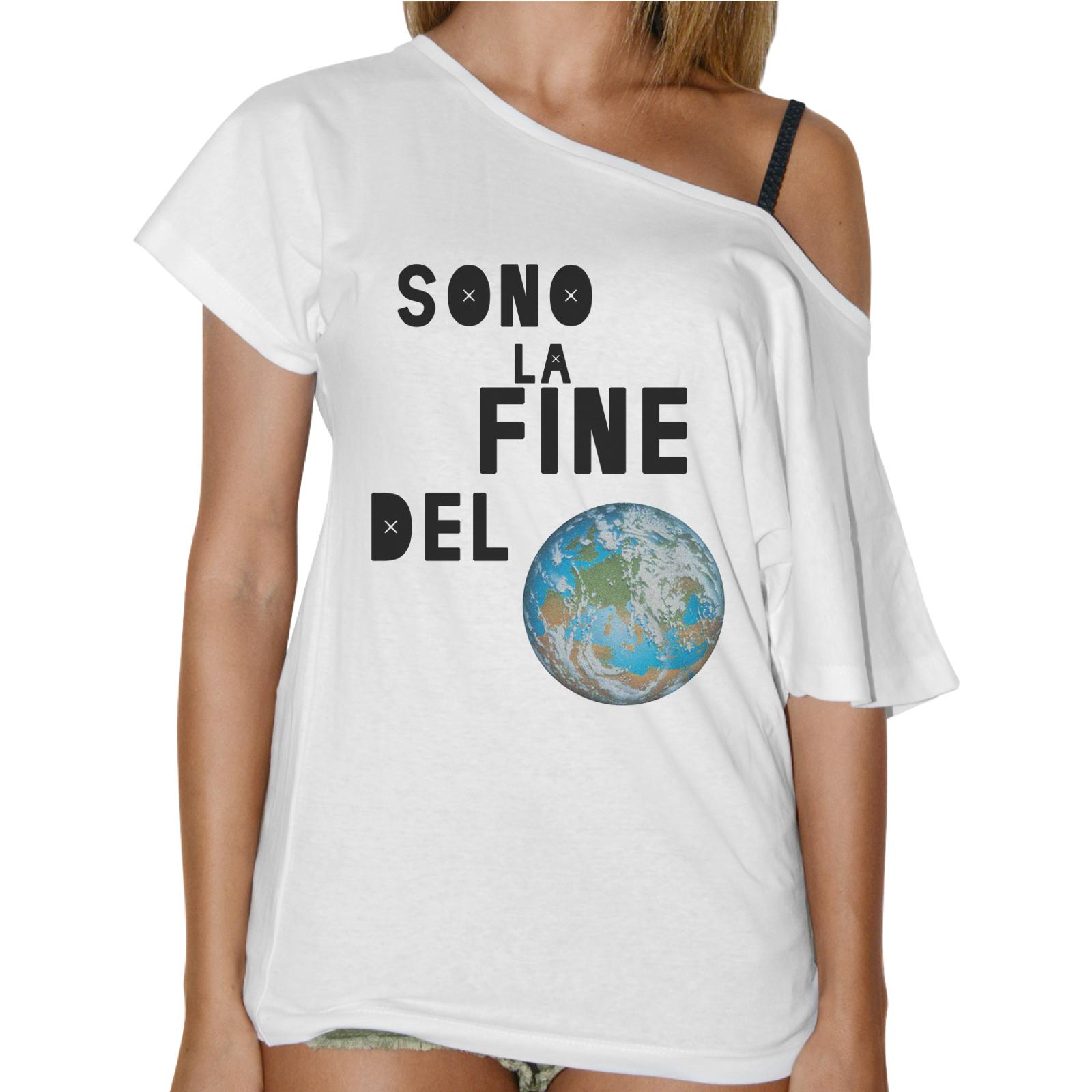 T-Shirt Donna Collo Barca SONO LA FINE DEL MONDO
