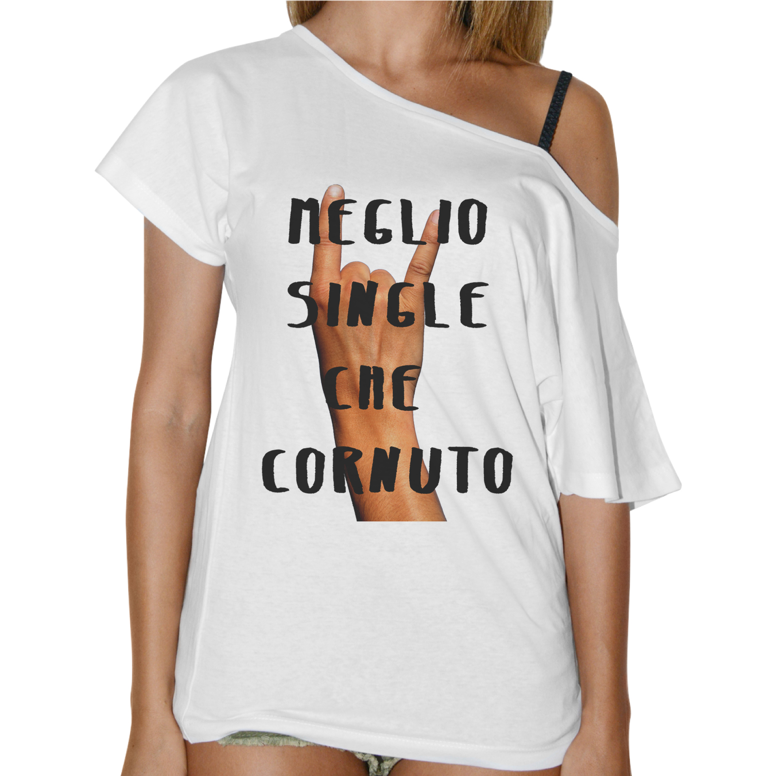 T-Shirt Donna Collo Barca MEGLIO SINGLE