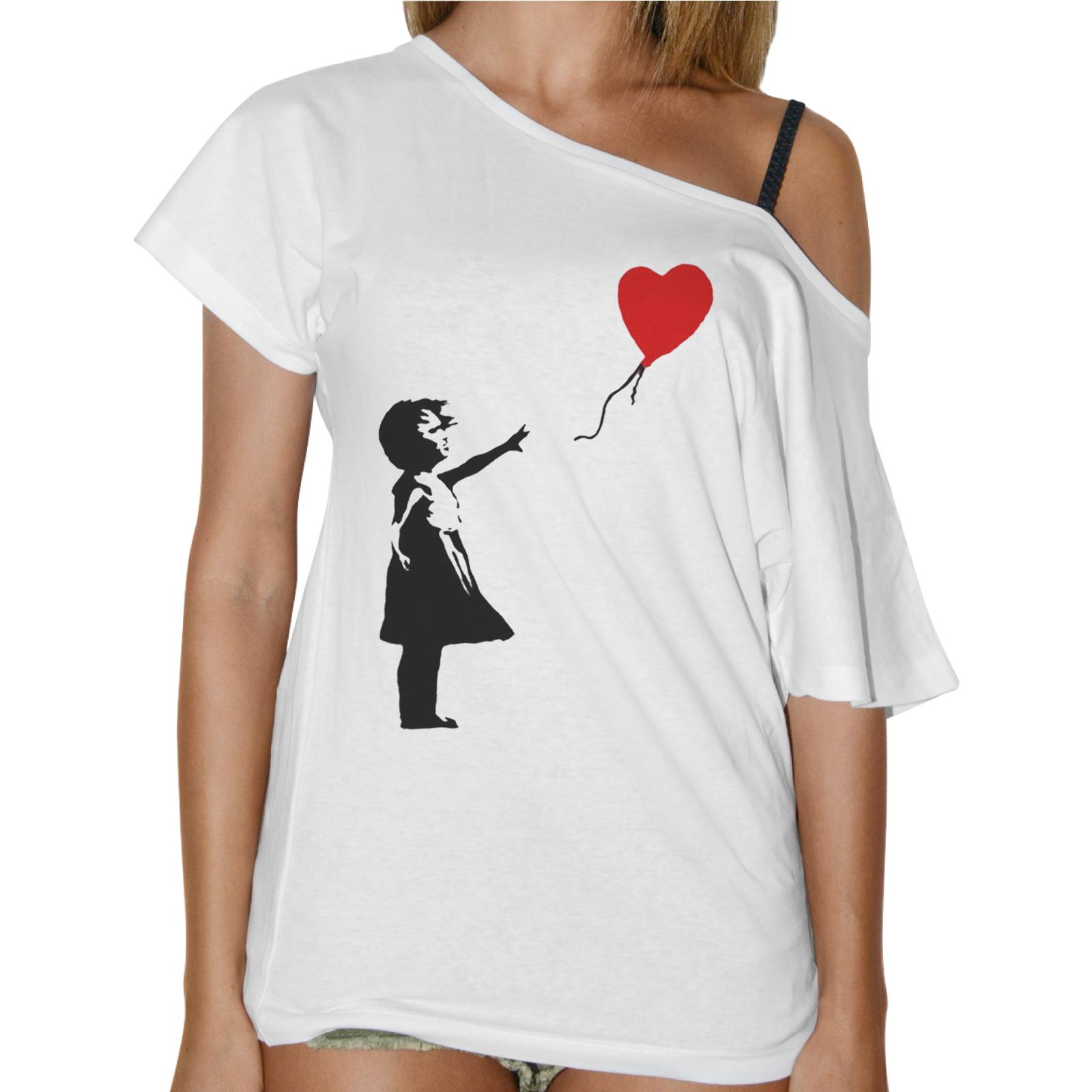 T-Shirt Donna Collo Barca PALLONCINO CUORE