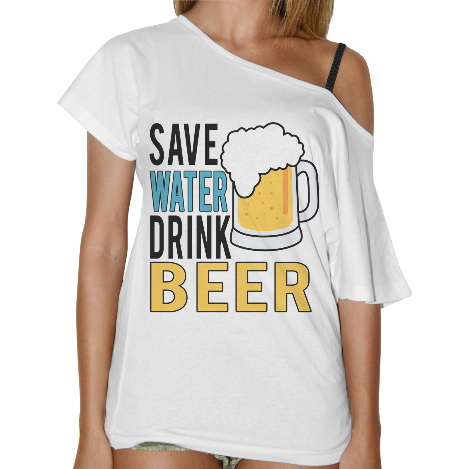 T-Shirt Donna Collo Barca SAVE WATER DRINK BEER 1