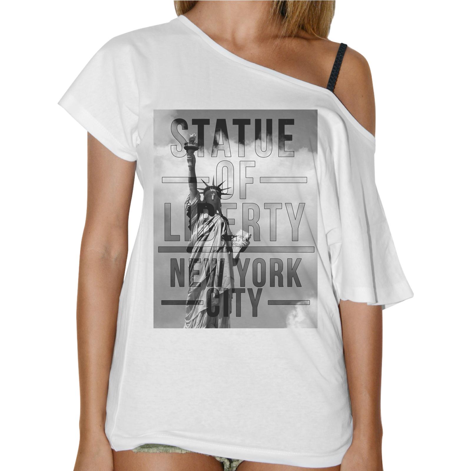 T-Shirt Donna Collo Barca STATUE LIBERTY