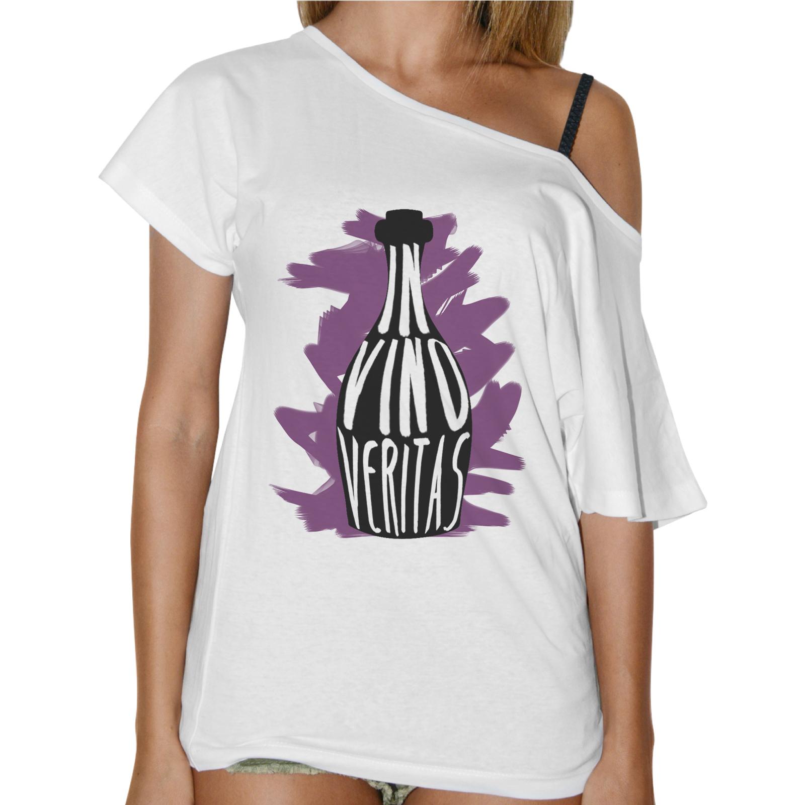 T-Shirt Donna Collo Barca VINO VERITAS 1