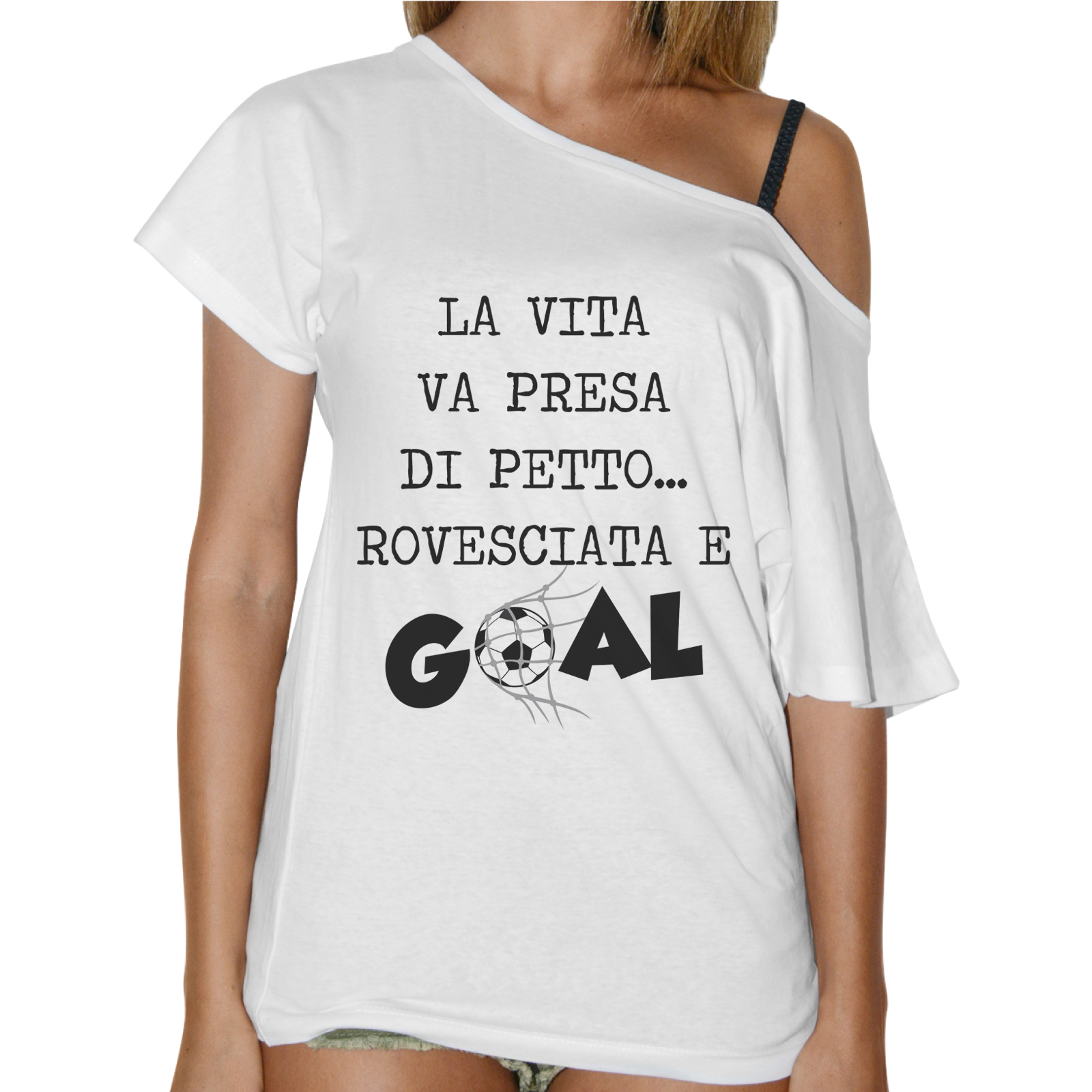 T-Shirt Donna Collo Barca PETTO ROVESCIATA GOAL 1