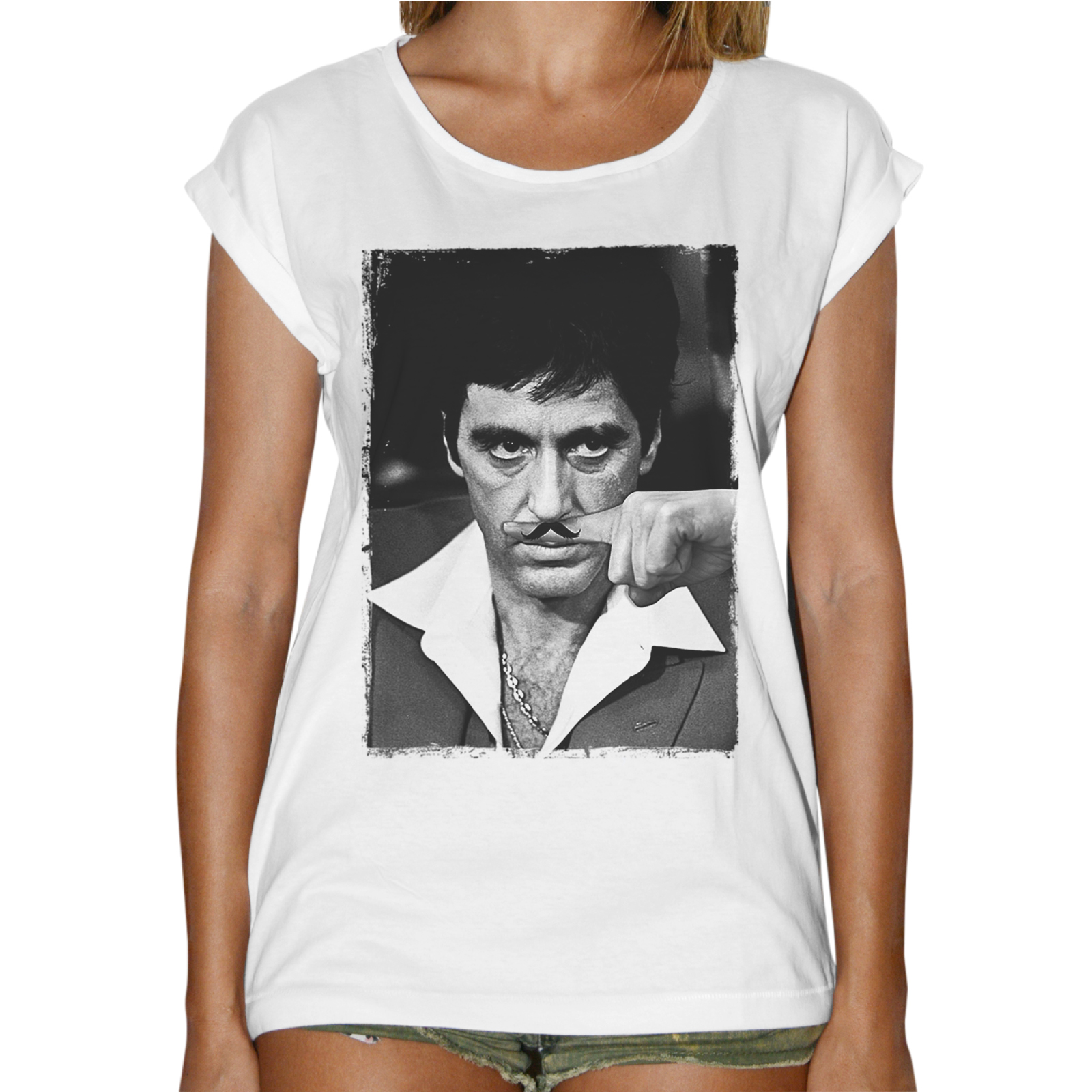 T-Shirt Donna Fashion AL PACINO MUSTACHE