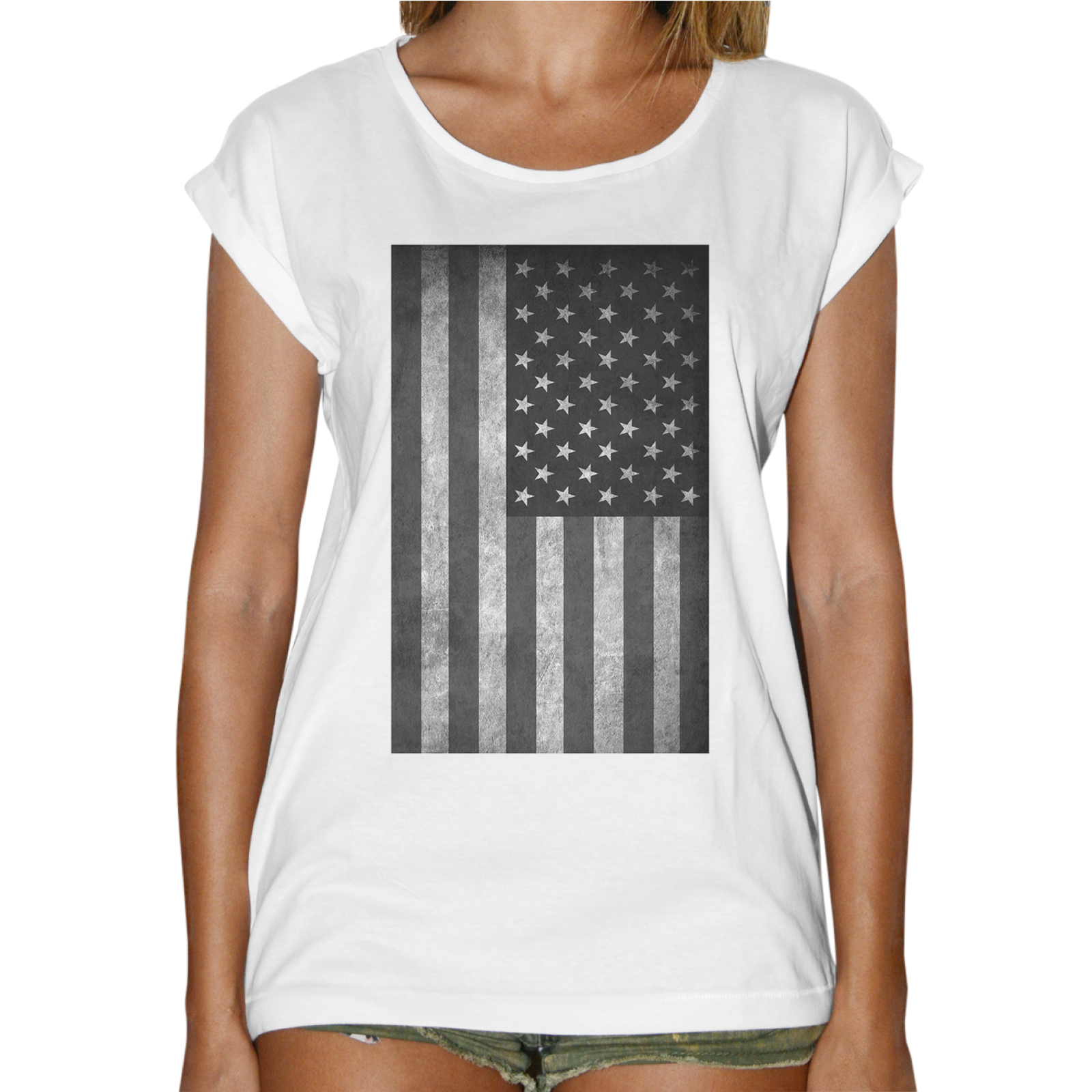 T-Shirt Donna Fashion BANDIERA AMERICA VINTAGE