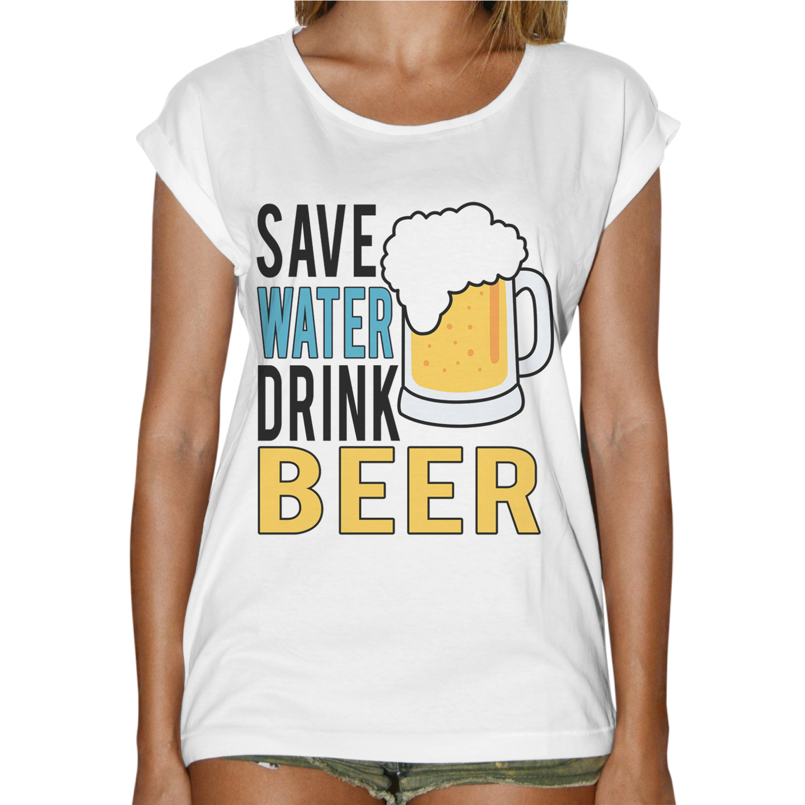 T-Shirt Donna Fashion SAVE WATER DRINK BEER 1
