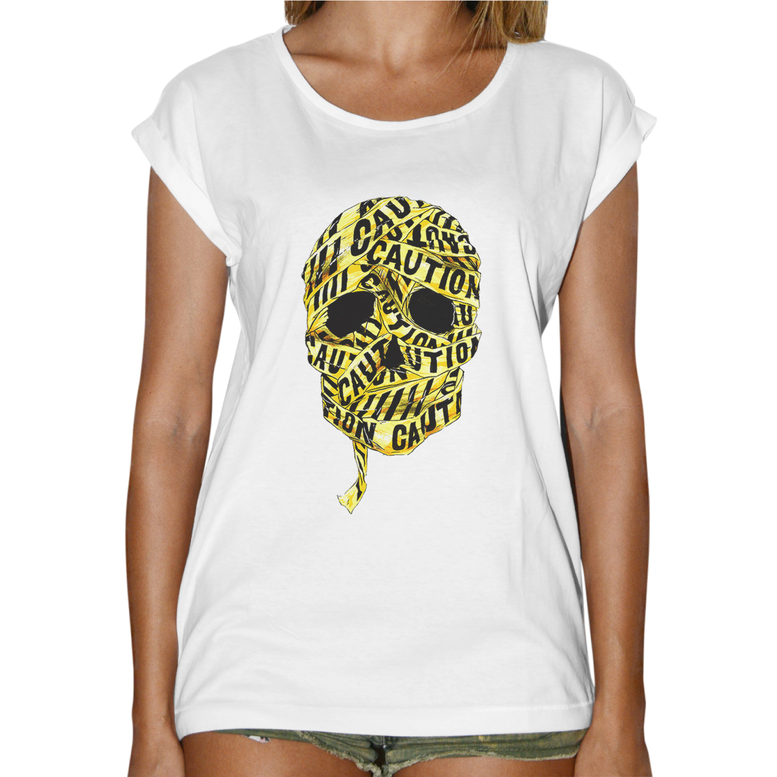 T-Shirt Donna Fashion SKULL CAUTION