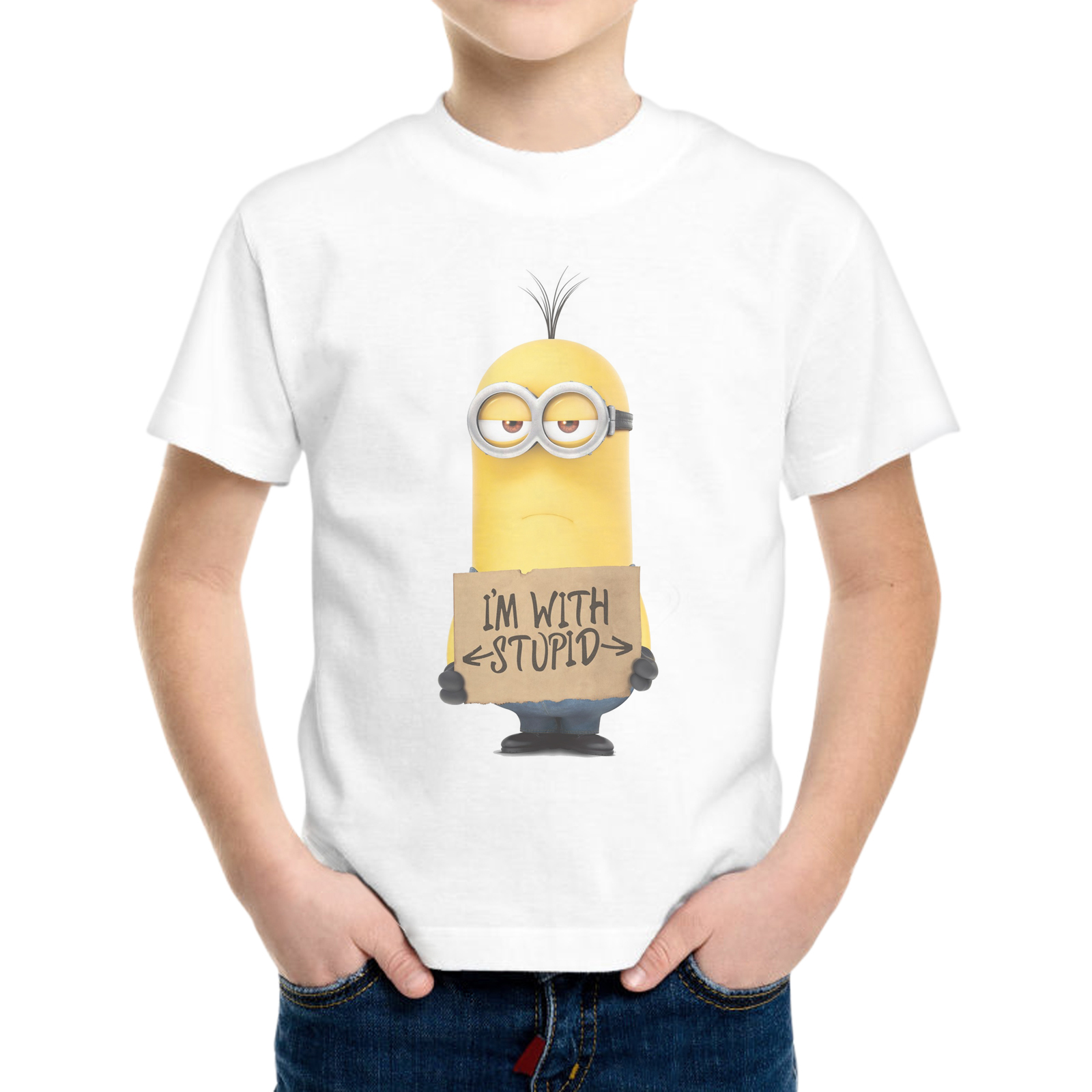 T-Shirt Bambino MINIONS I'M WITH STUPID