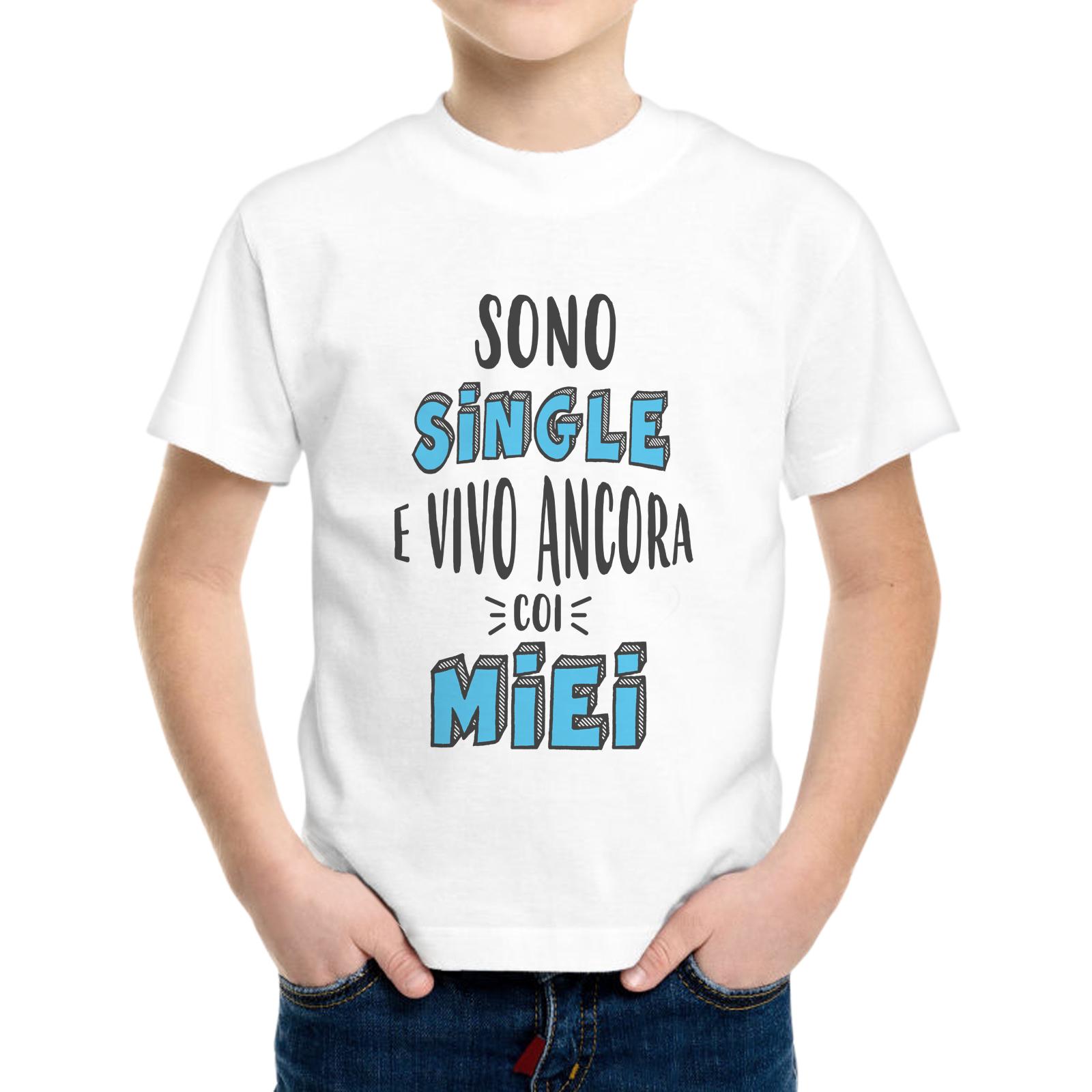 T-Shirt Bambino SINGLE E VIVO CON I MIEI 1