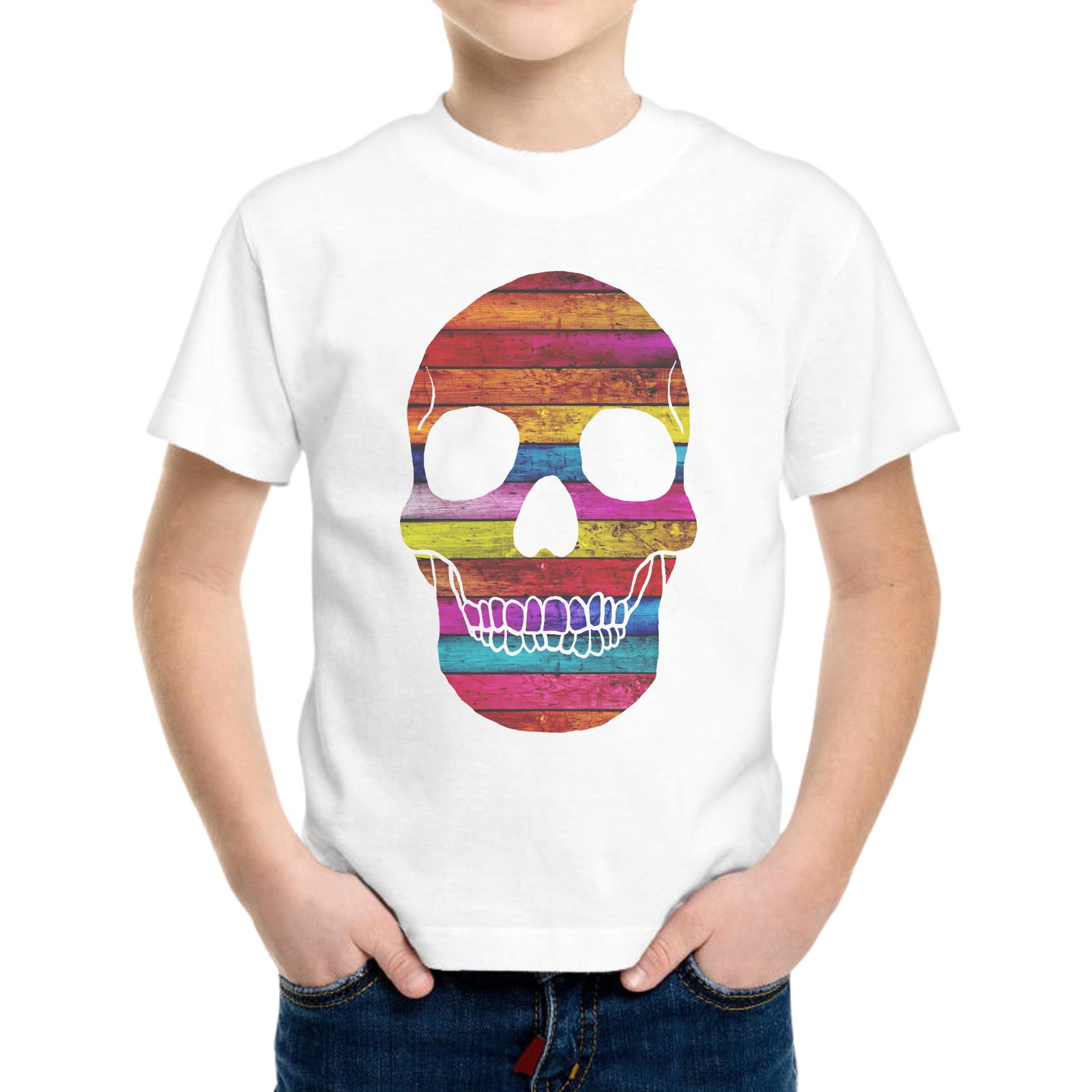T-Shirt Bambino SKULL WOOD COLOR 1