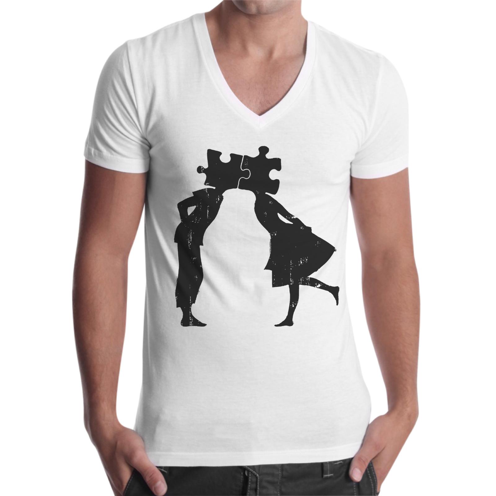 T-Shirt Uomo Scollo V PUZZLE LOVE 1