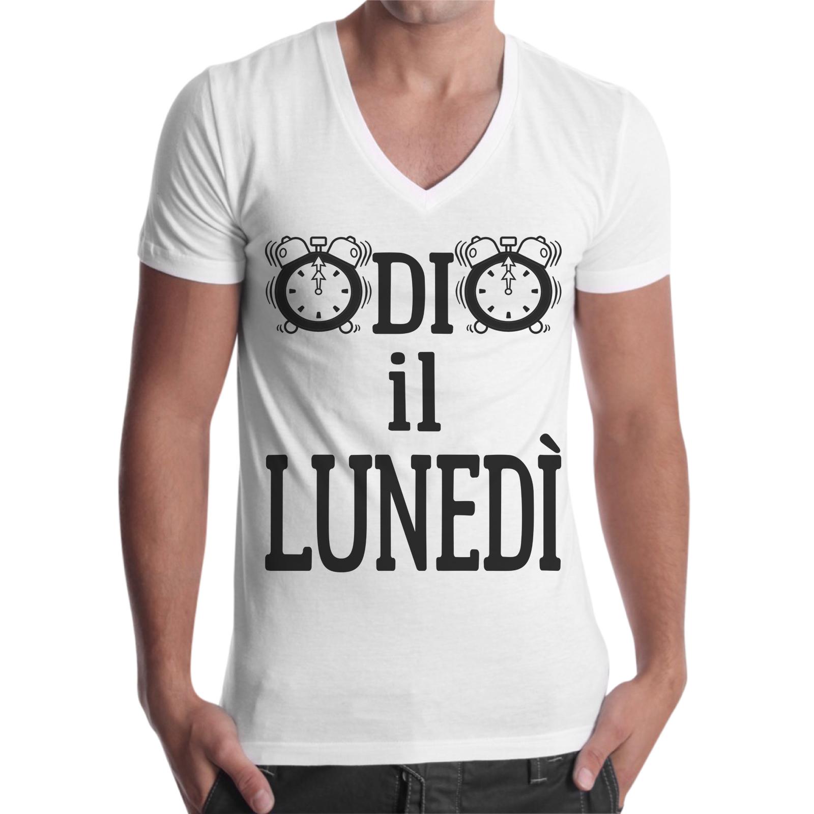 T-Shirt Uomo Scollo V ODIO IL LUNEDI