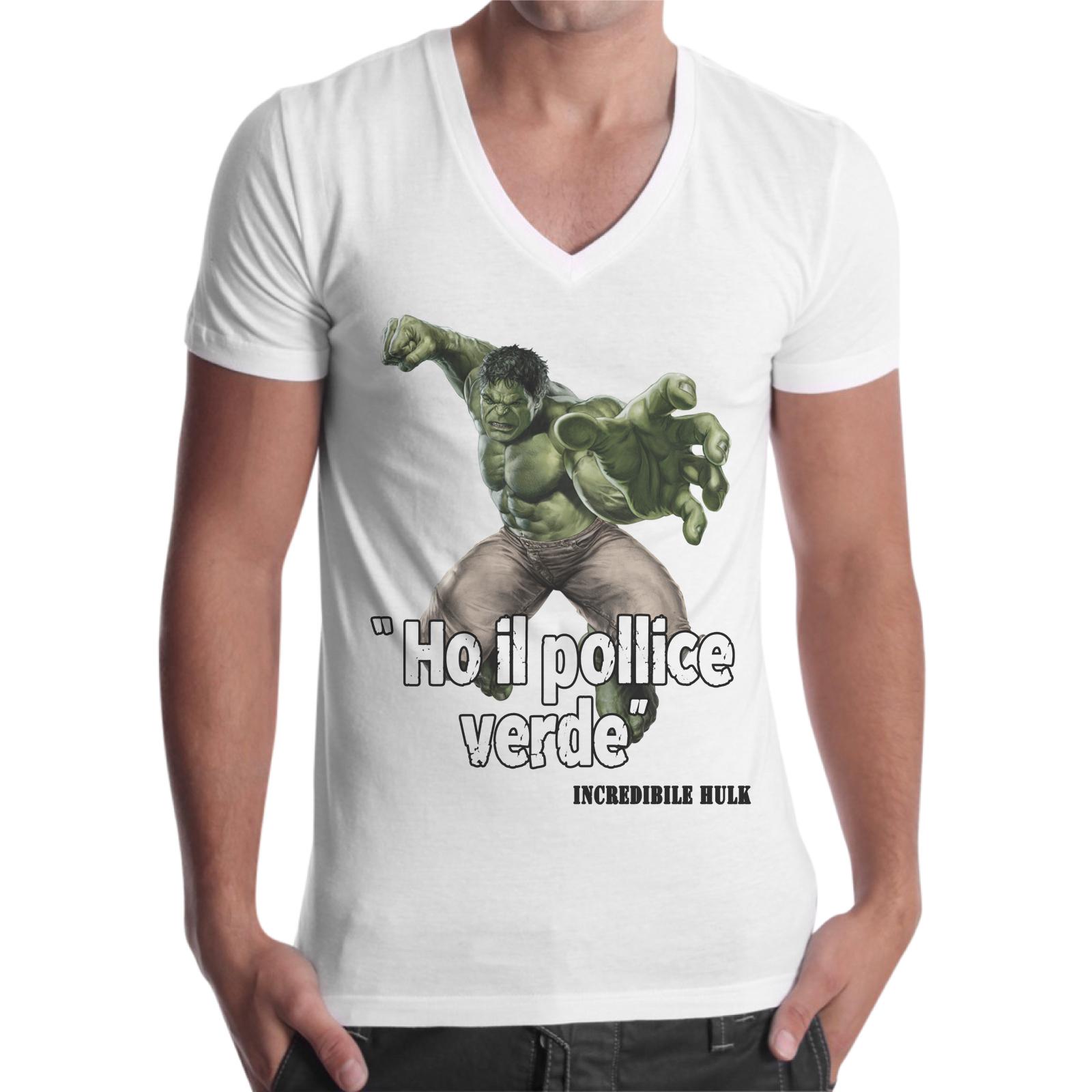 T-Shirt Uomo Scollo V POLLICE VERDE