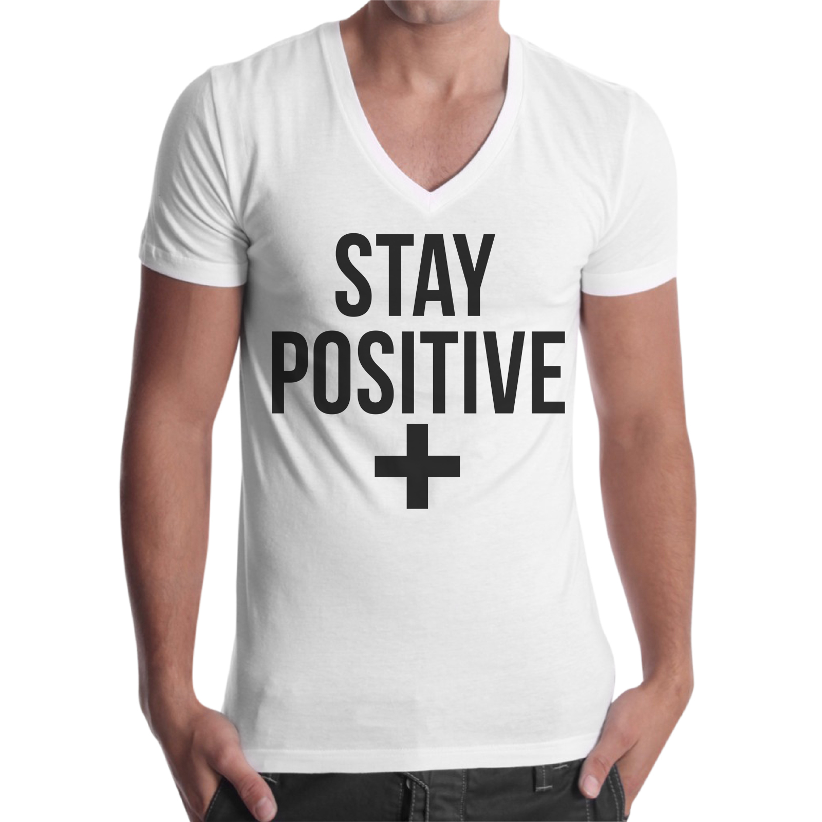 T-Shirt Uomo Scollo V STAY POSITIVE 1