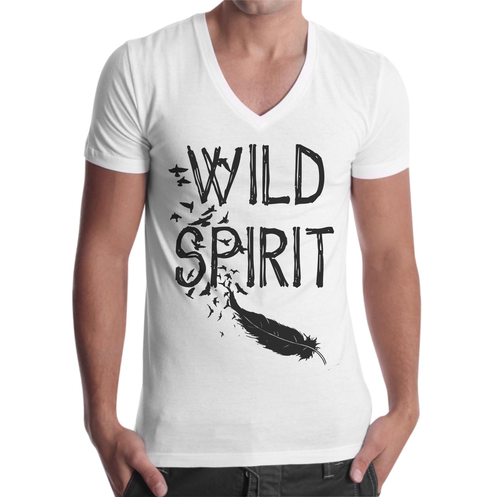 T-Shirt Uomo Scollo V WILD SPIRIT