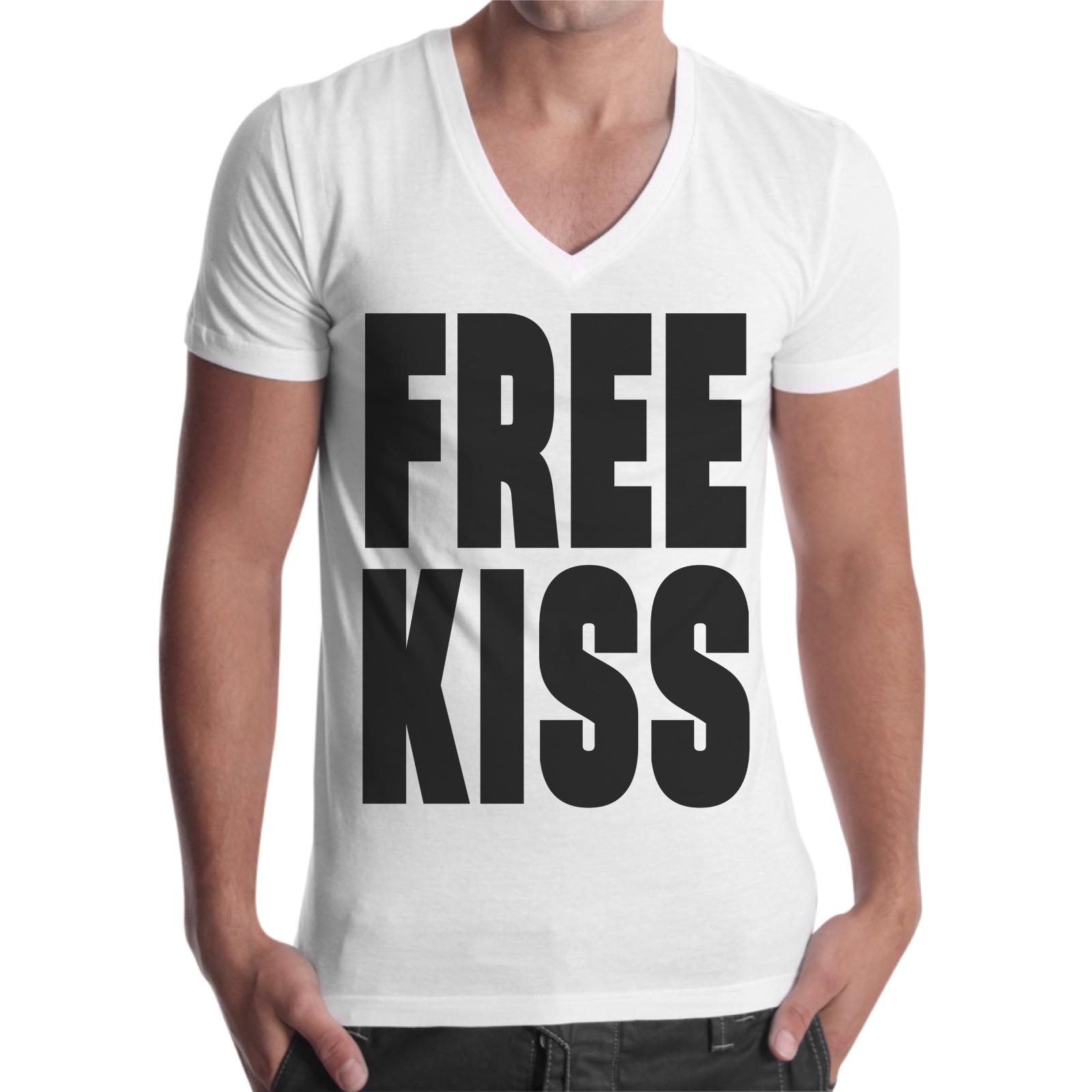 T-Shirt Uomo Scollo V FREE KISS