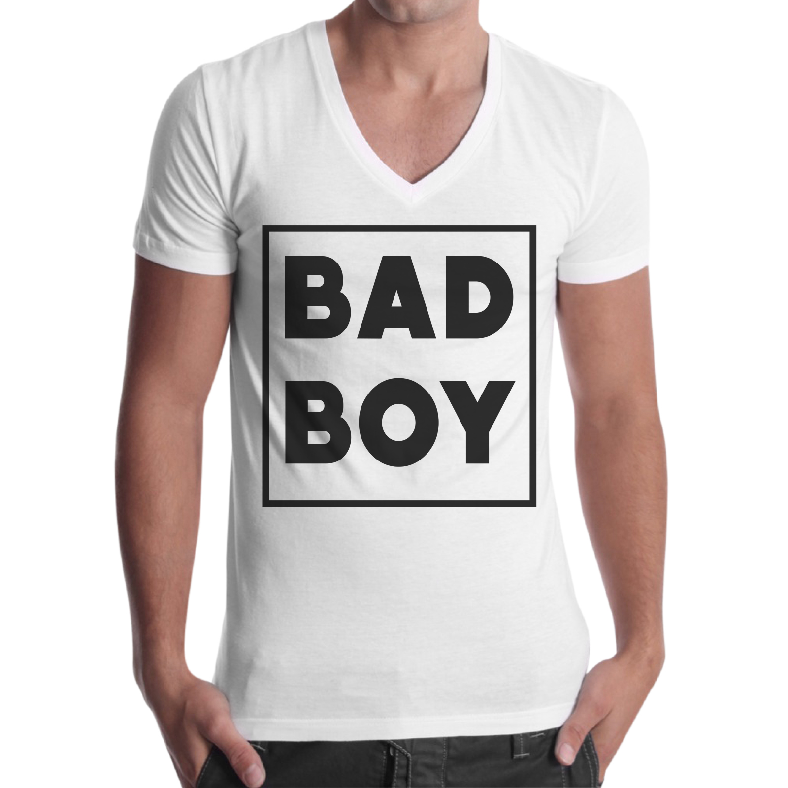 T-Shirt Uomo Scollo V BAD BOY