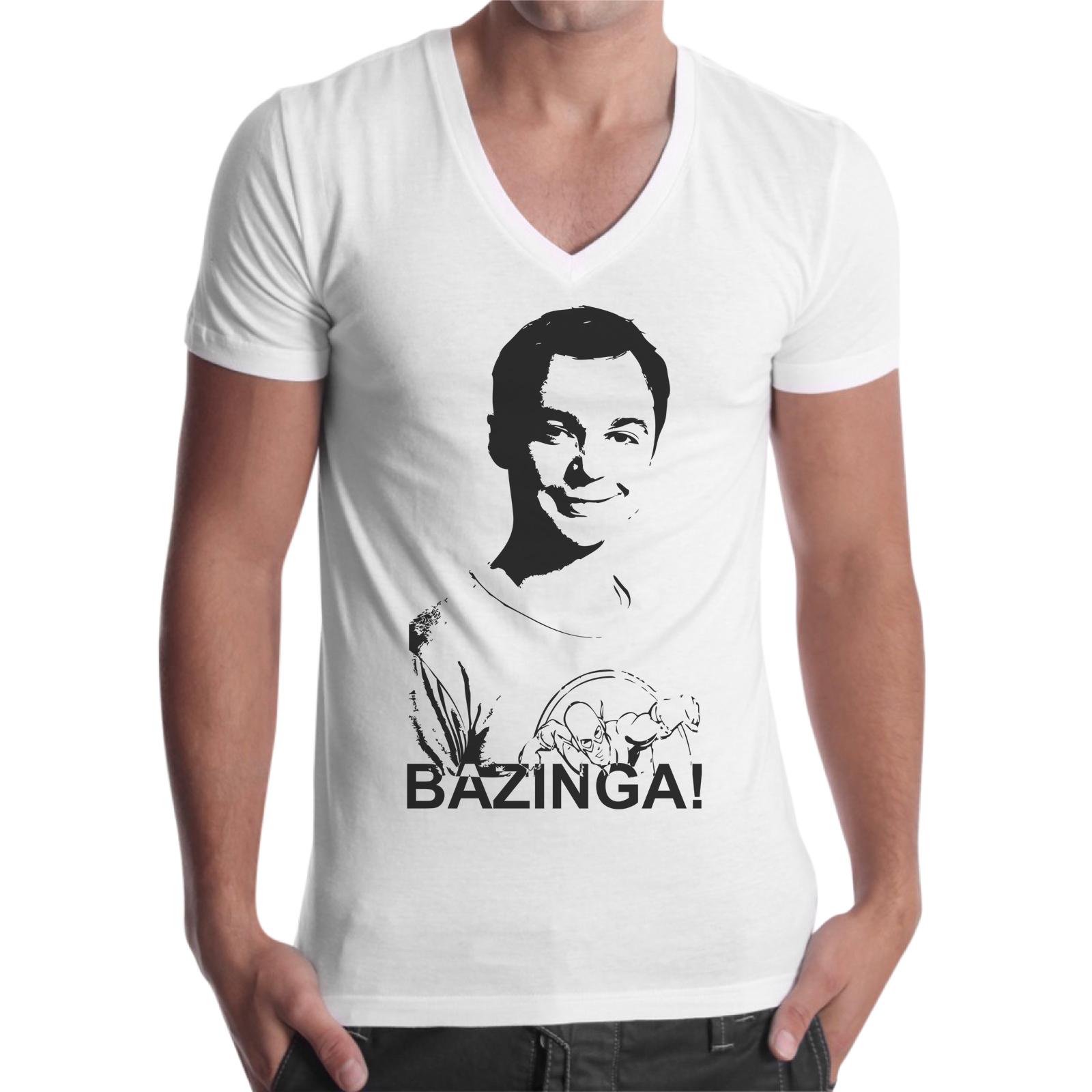 T-Shirt Uomo Scollo V BAZINGA SHELDON