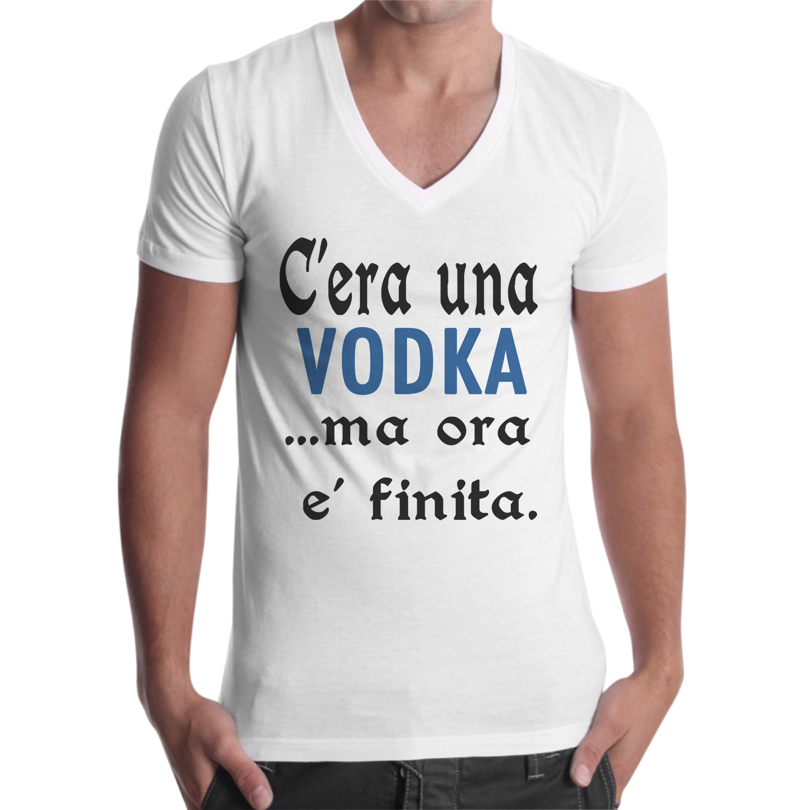 T-Shirt Uomo Scollo V C'ERA UNA VODKA