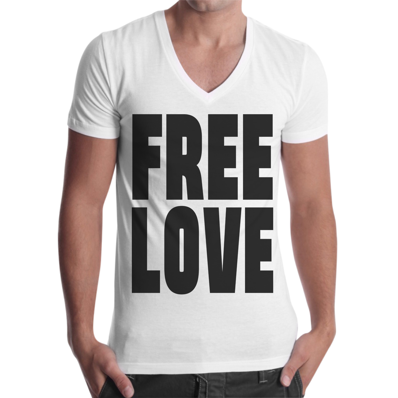 T-Shirt Uomo Scollo V FREE LOVE