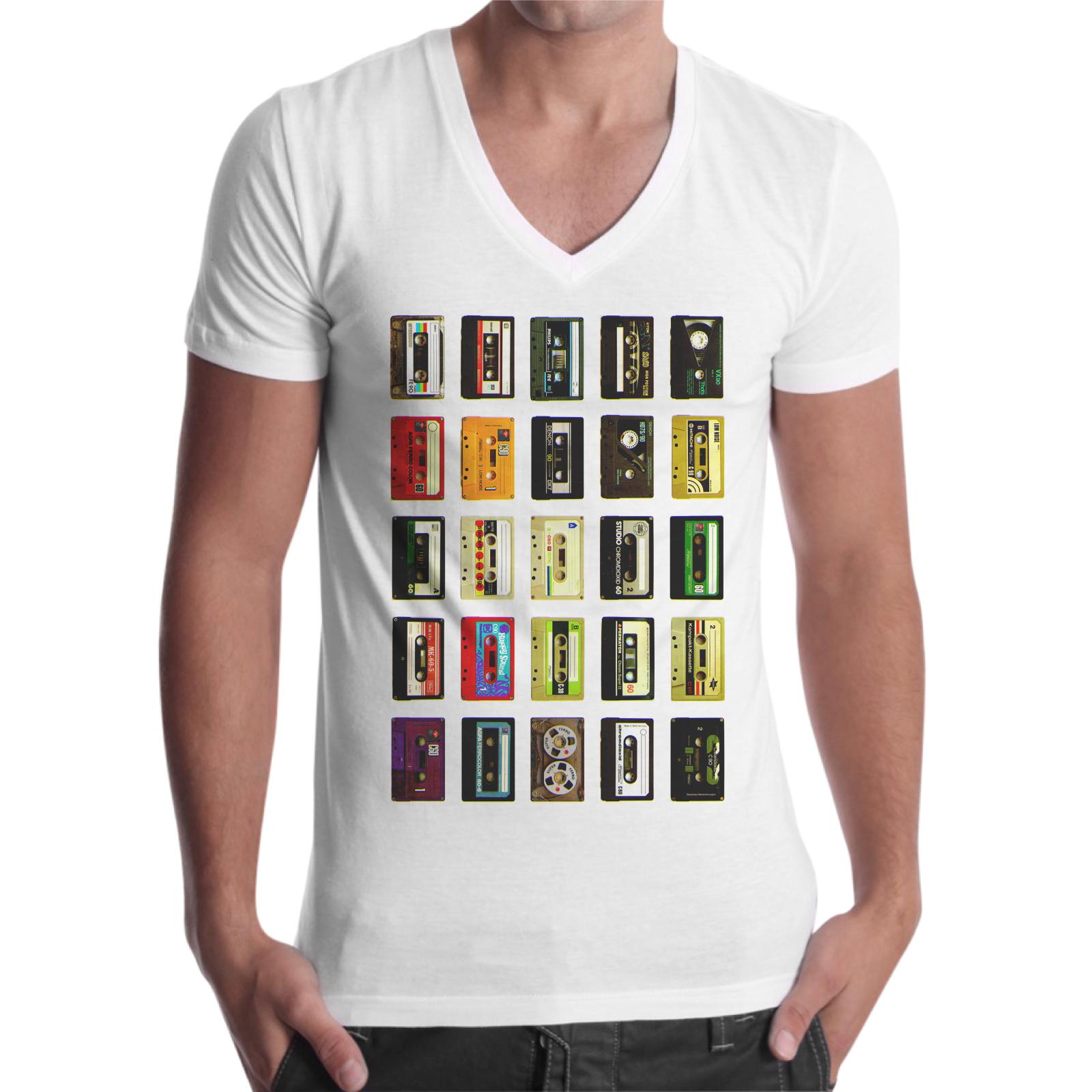 T-Shirt Uomo Scollo V CASSETTE VINTAGE