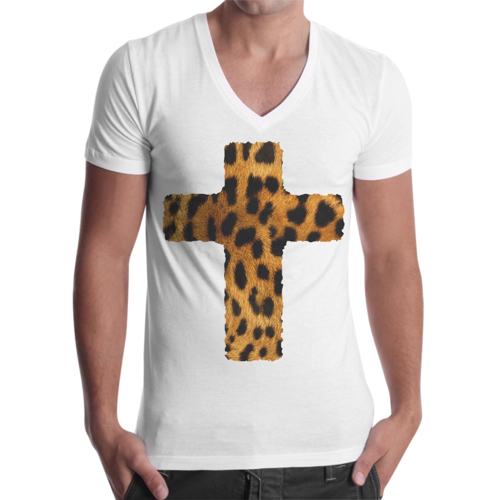 T-Shirt Uomo Scollo V CROCE LEOPARDATA