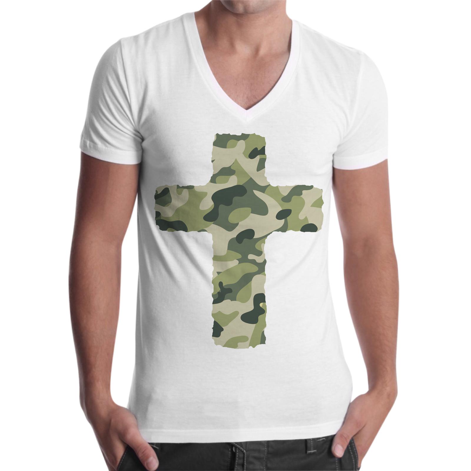 T-Shirt Uomo Scollo V CROCE MILITARE 1