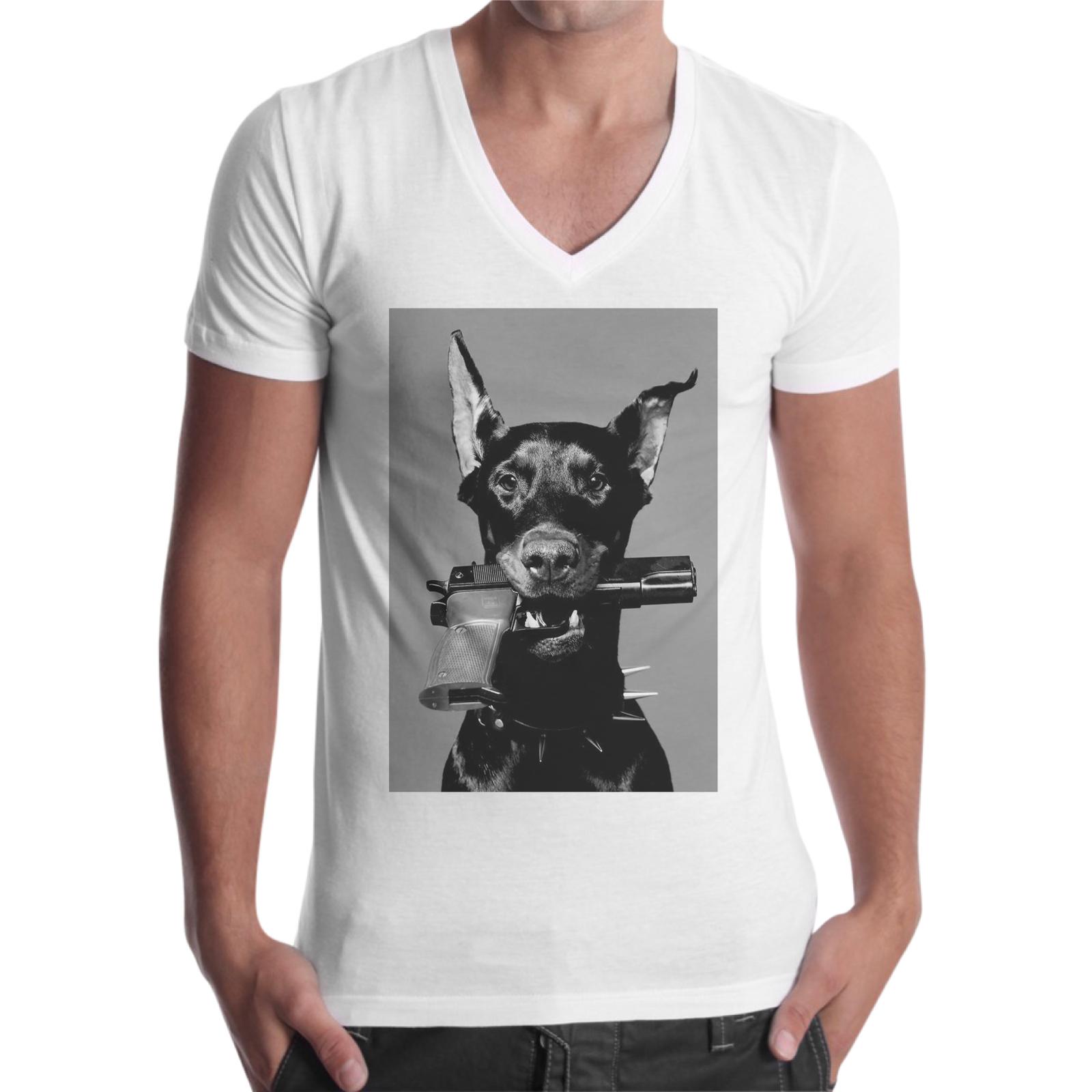 T-Shirt Uomo Scollo V DOG PISTOL
