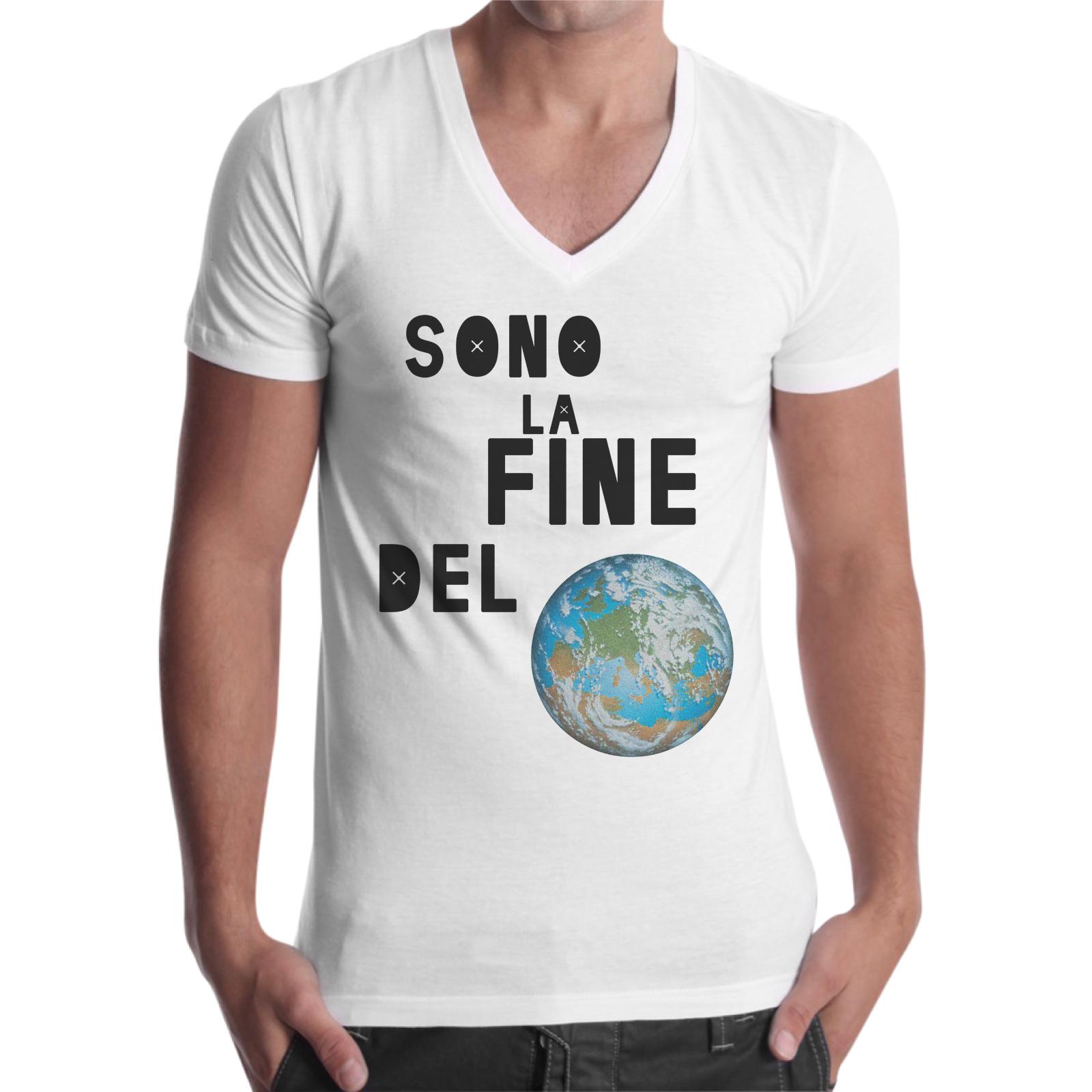 T-Shirt Uomo Scollo V SONO LA FINE DEL MONDO
