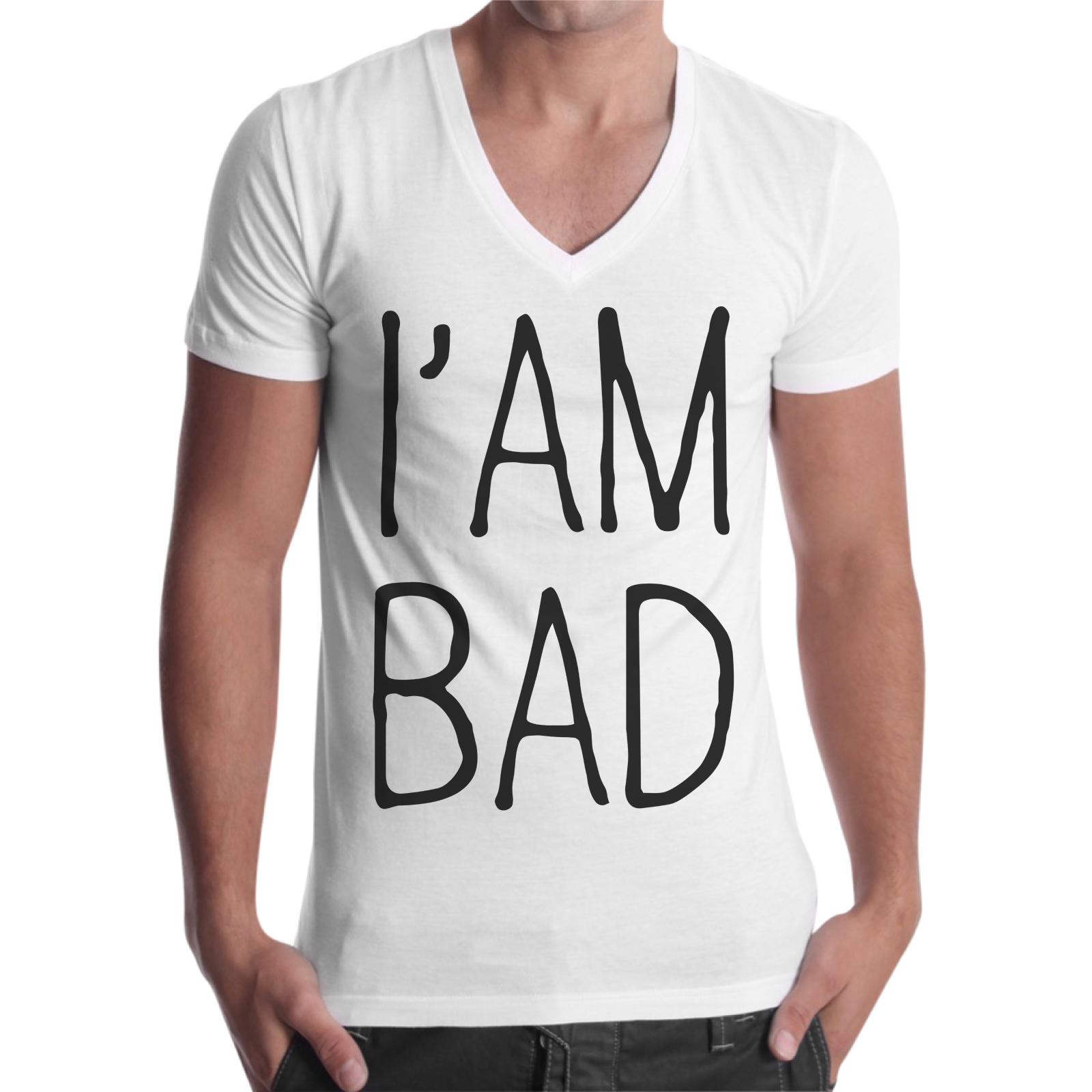 T-Shirt Uomo Scollo V I AM BAD 1