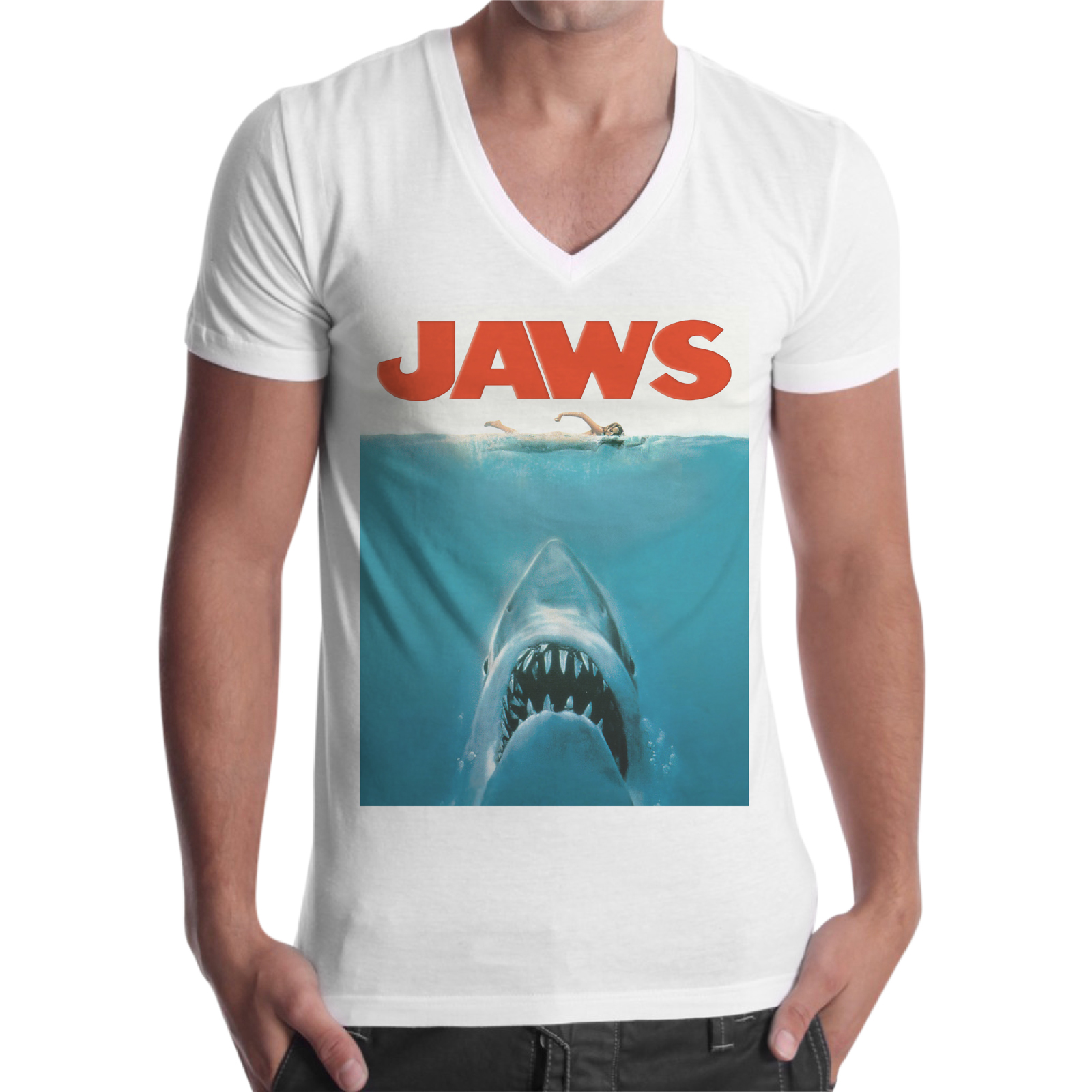 T-Shirt Uomo Scollo V SHARK JAWS