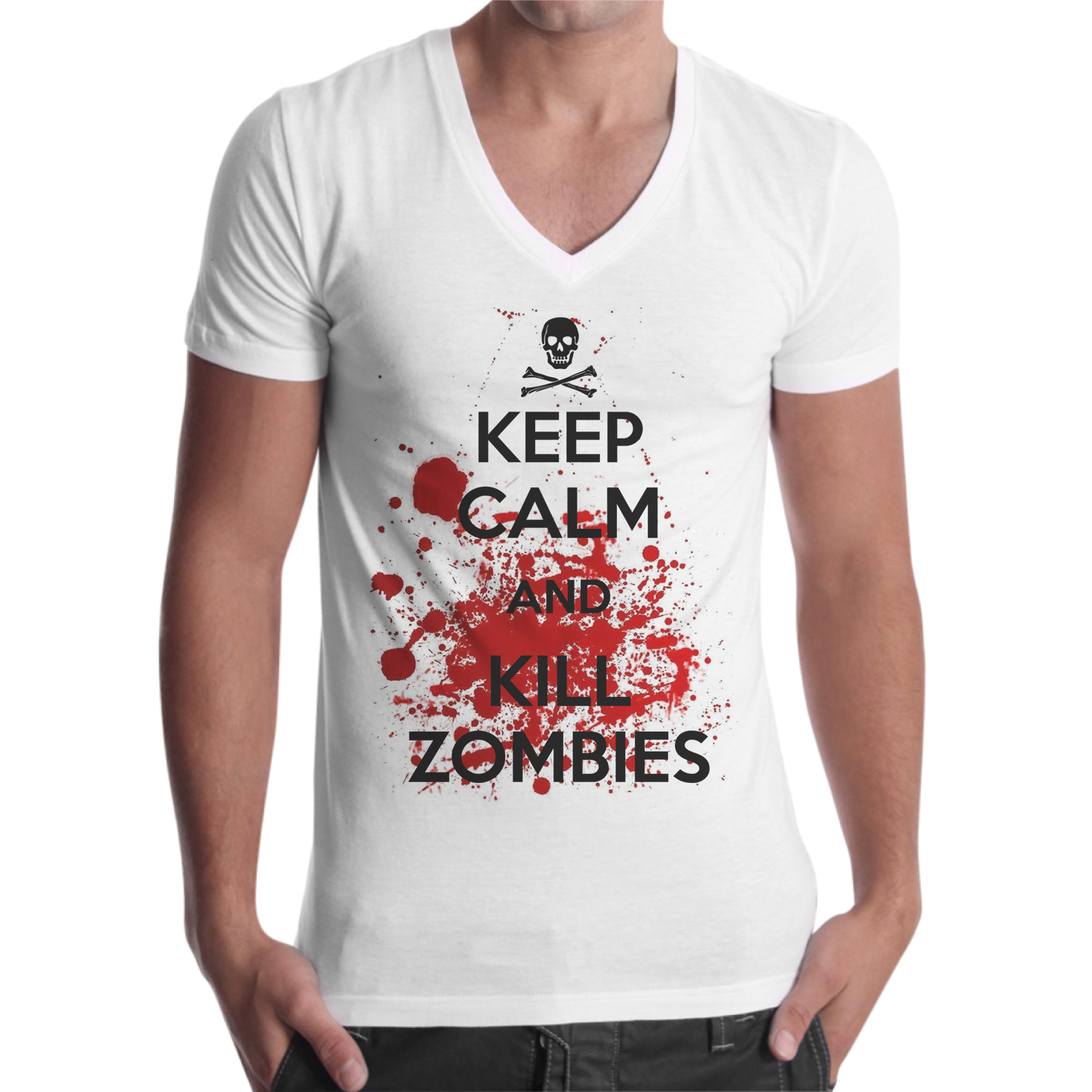 T-Shirt Uomo Scollo V KEEP ZOMBIE