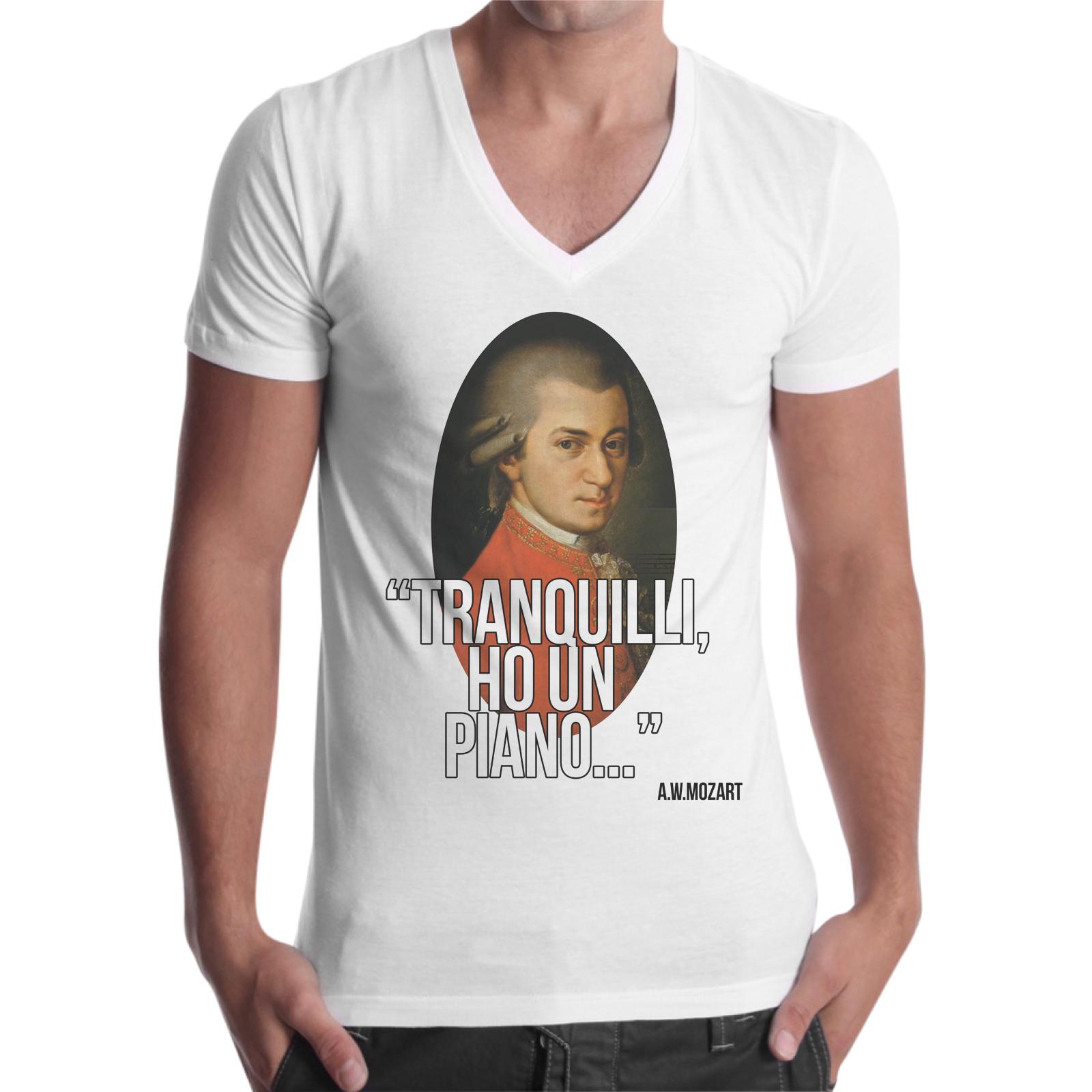 T-Shirt Uomo Scollo V HO UN PIANO