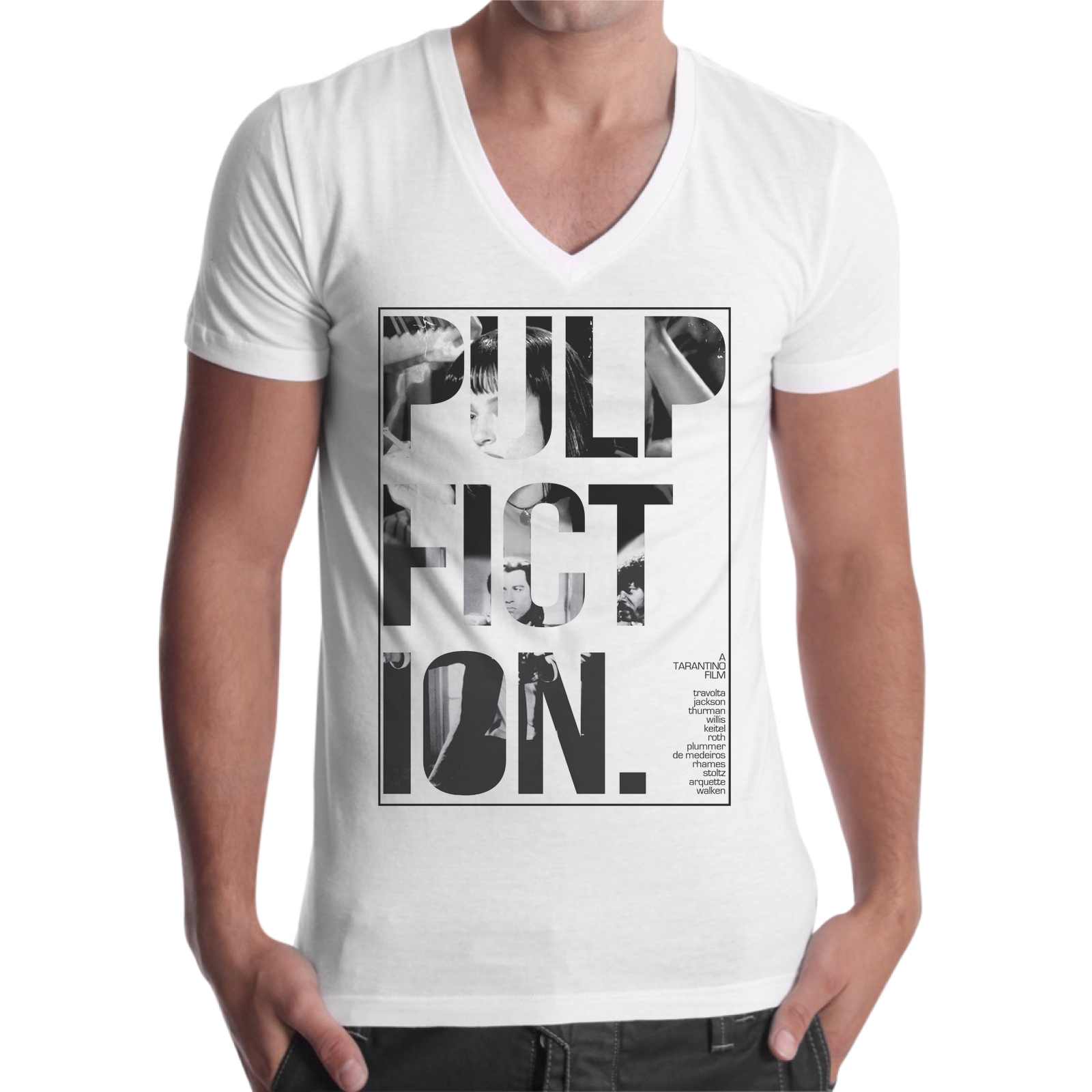 T-Shirt Uomo Scollo V PULP FICTION