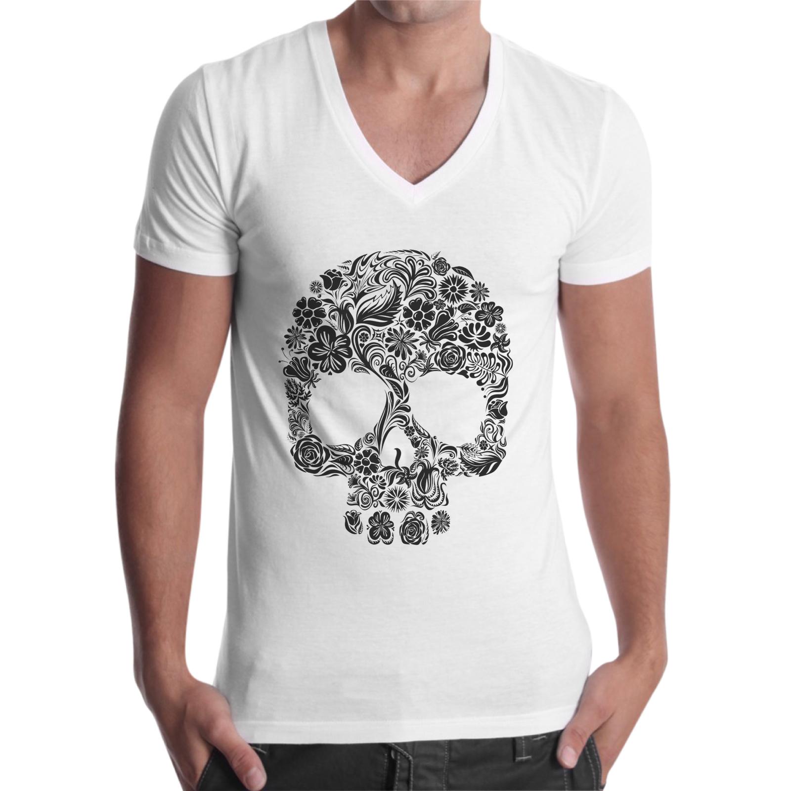 T-Shirt Uomo Scollo V SKULL FLOWERS 1