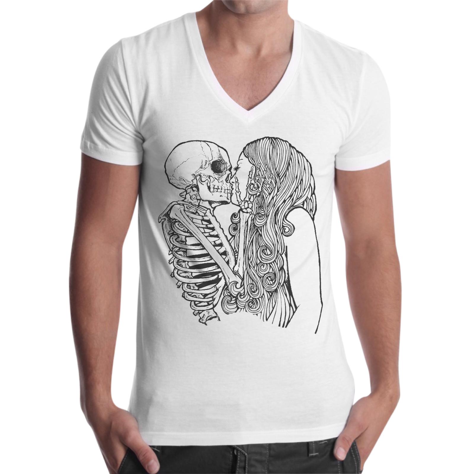 T-Shirt Uomo Scollo V SKULL KISS GIRL