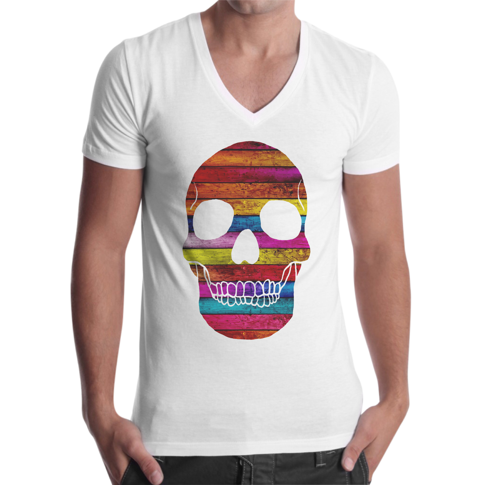 T-Shirt Uomo Scollo V WOOD SKULL