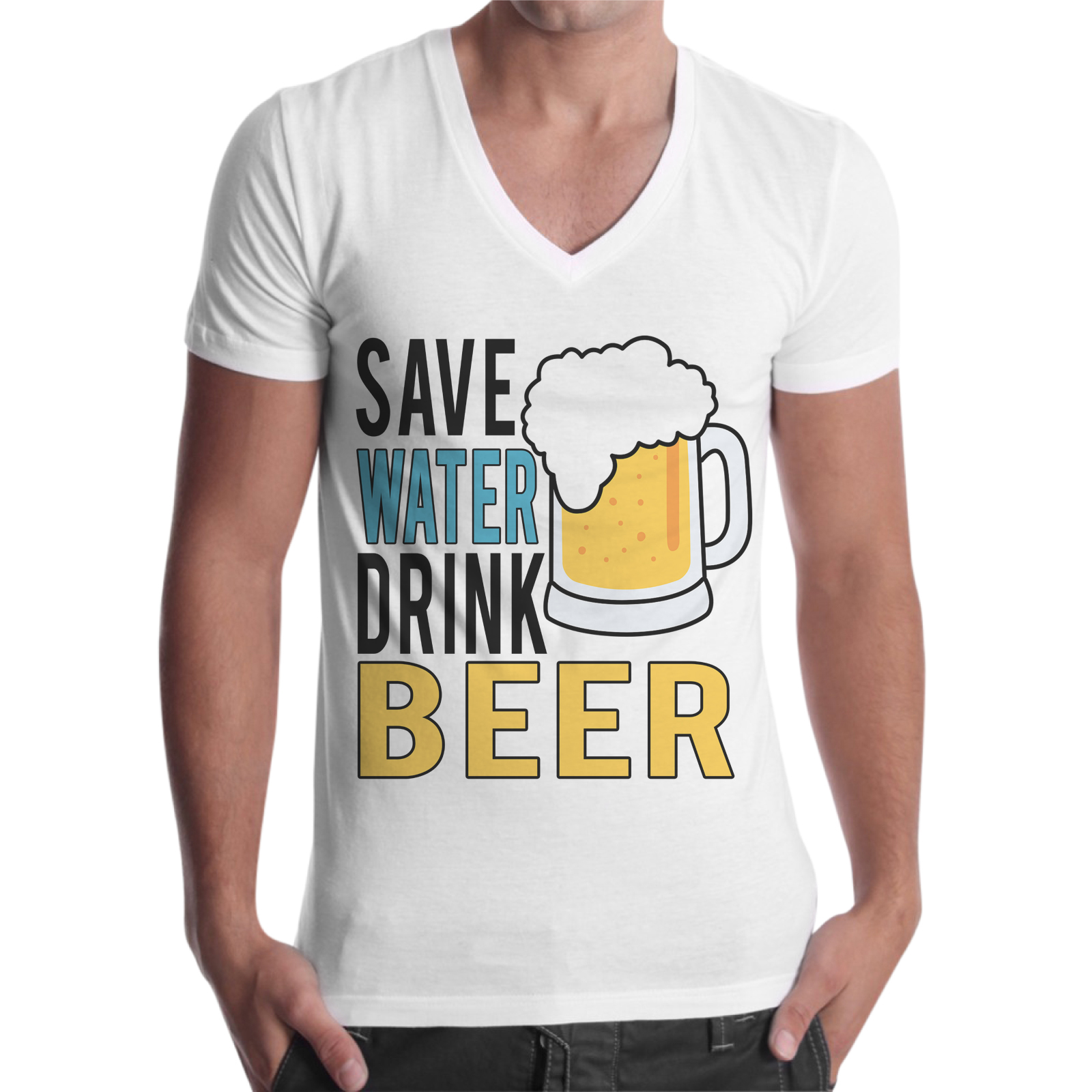 T-Shirt Uomo Scollo V SAVE BEER DRINK BEER