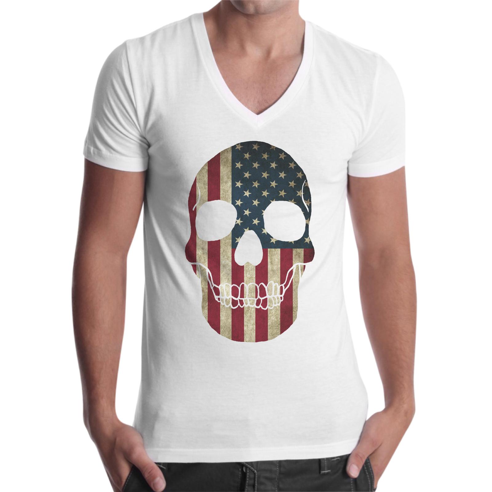 T-Shirt Uomo Scollo V SKULL AMERICAN FLAG 1