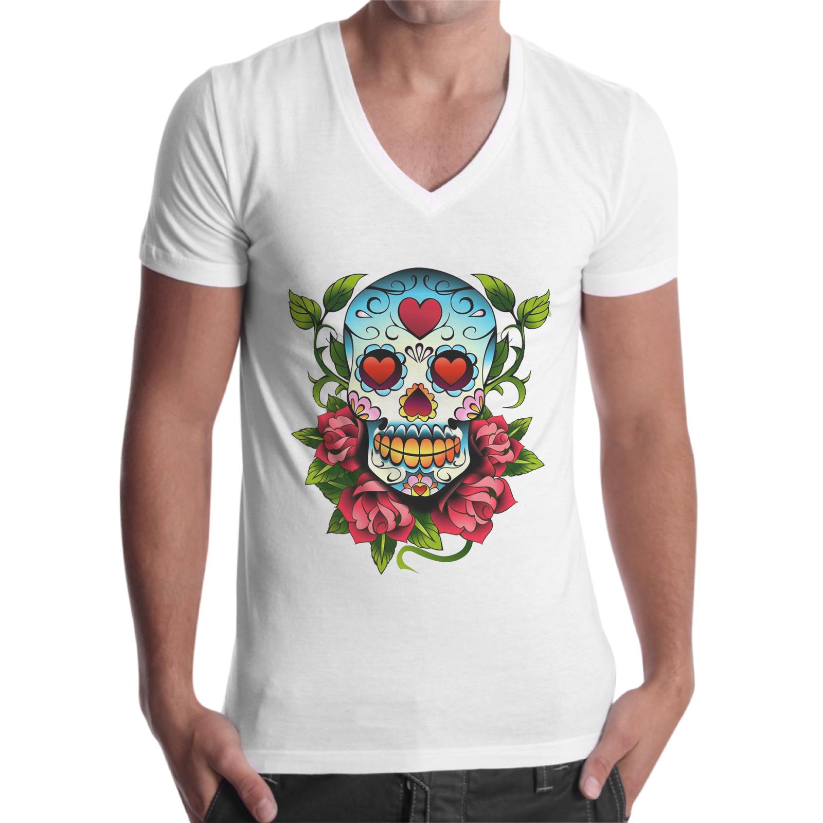 T-Shirt Uomo Scollo V TESCHIO MESSICANO 1